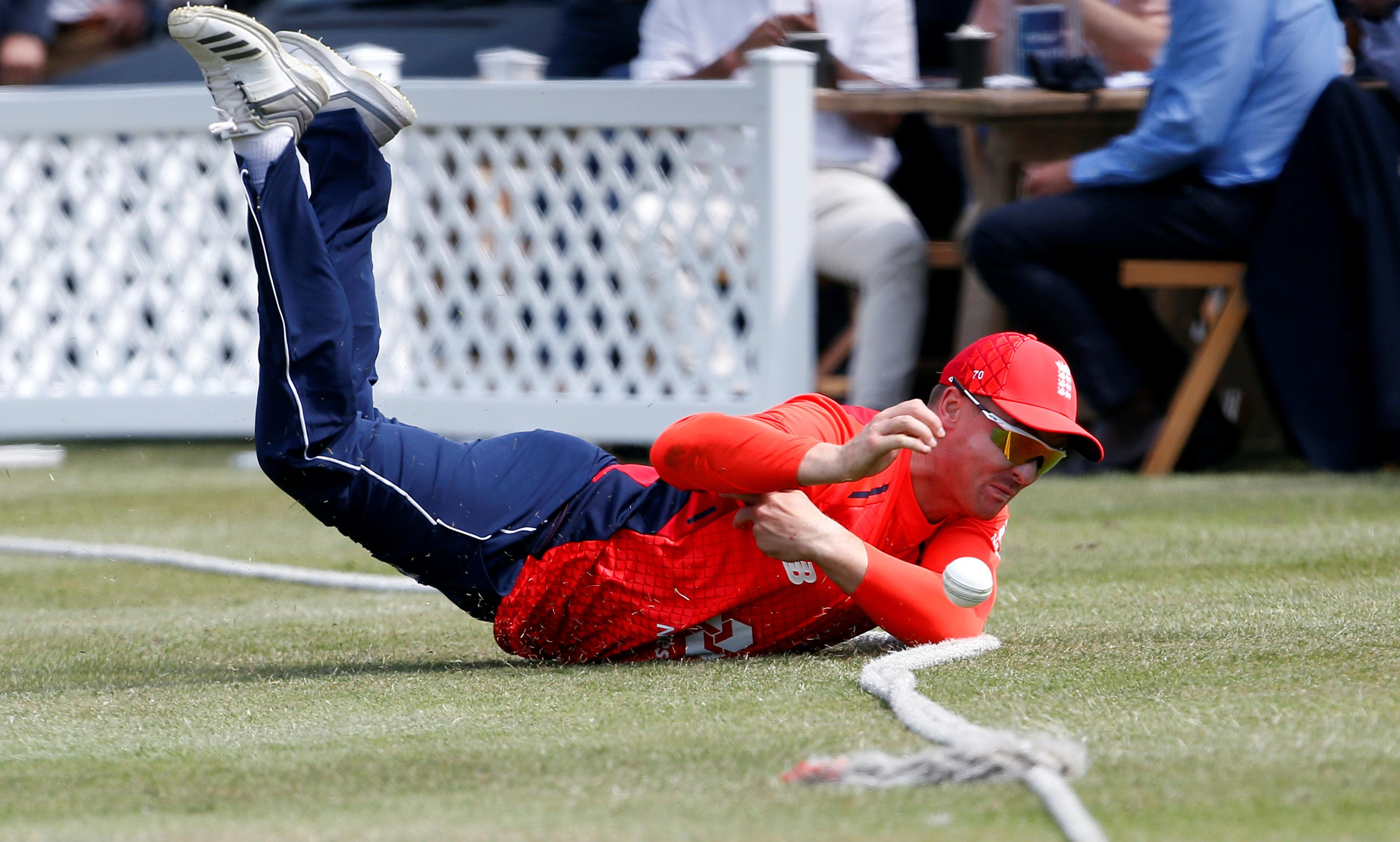 England star Jason Roy dives for the ball during the One Day International