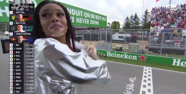 Winnie Harlow's flag gaffe nearly caused chaos at the Canadian Grand Prix