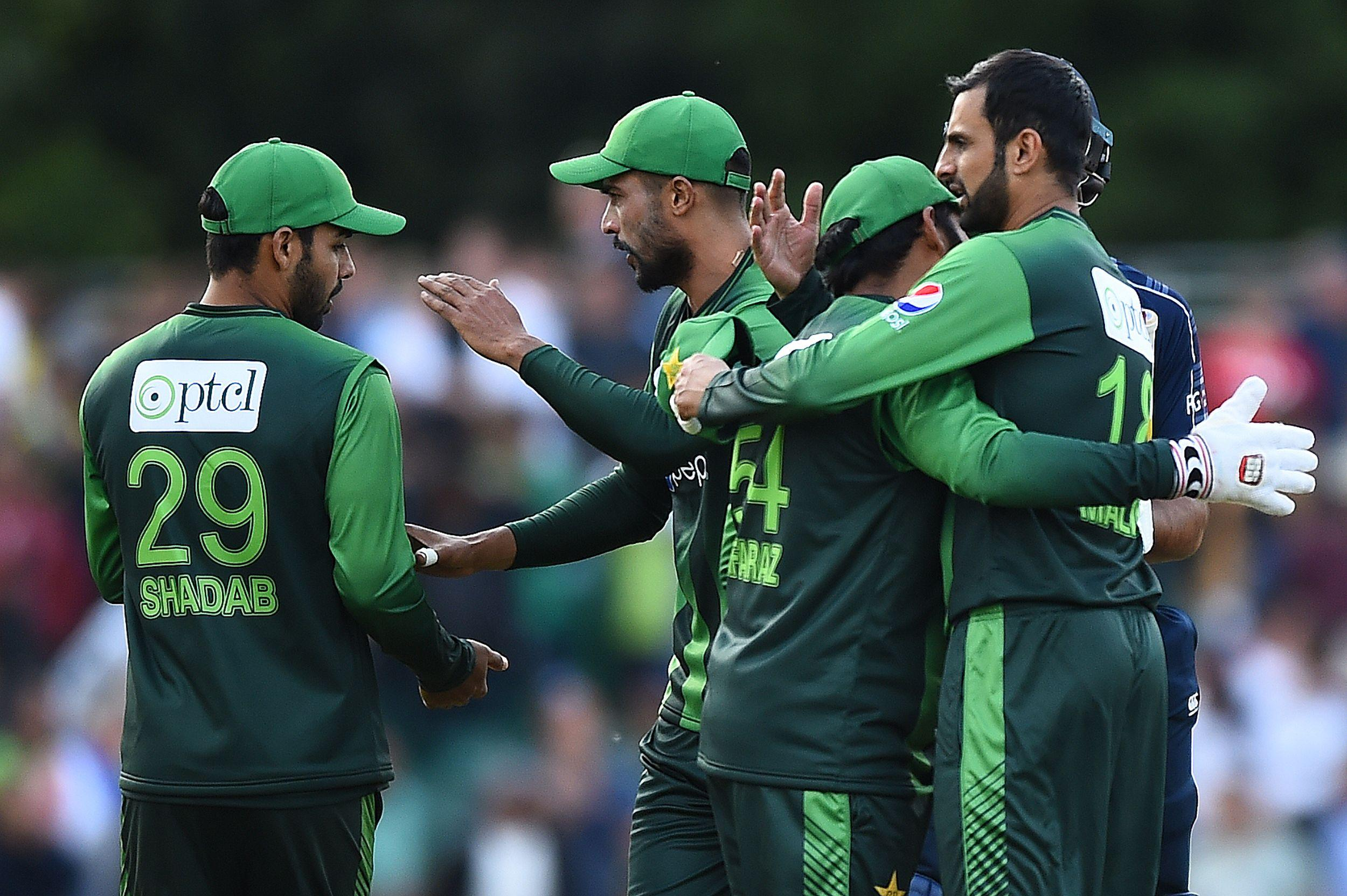 Pakistan celebrate winning the first of the two-match T20 series