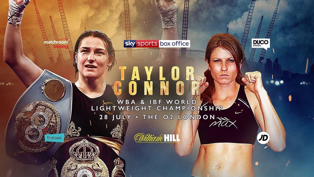 Katie Taylor will be looking to retain her IBF and WBA world titles against Kimberley Connor