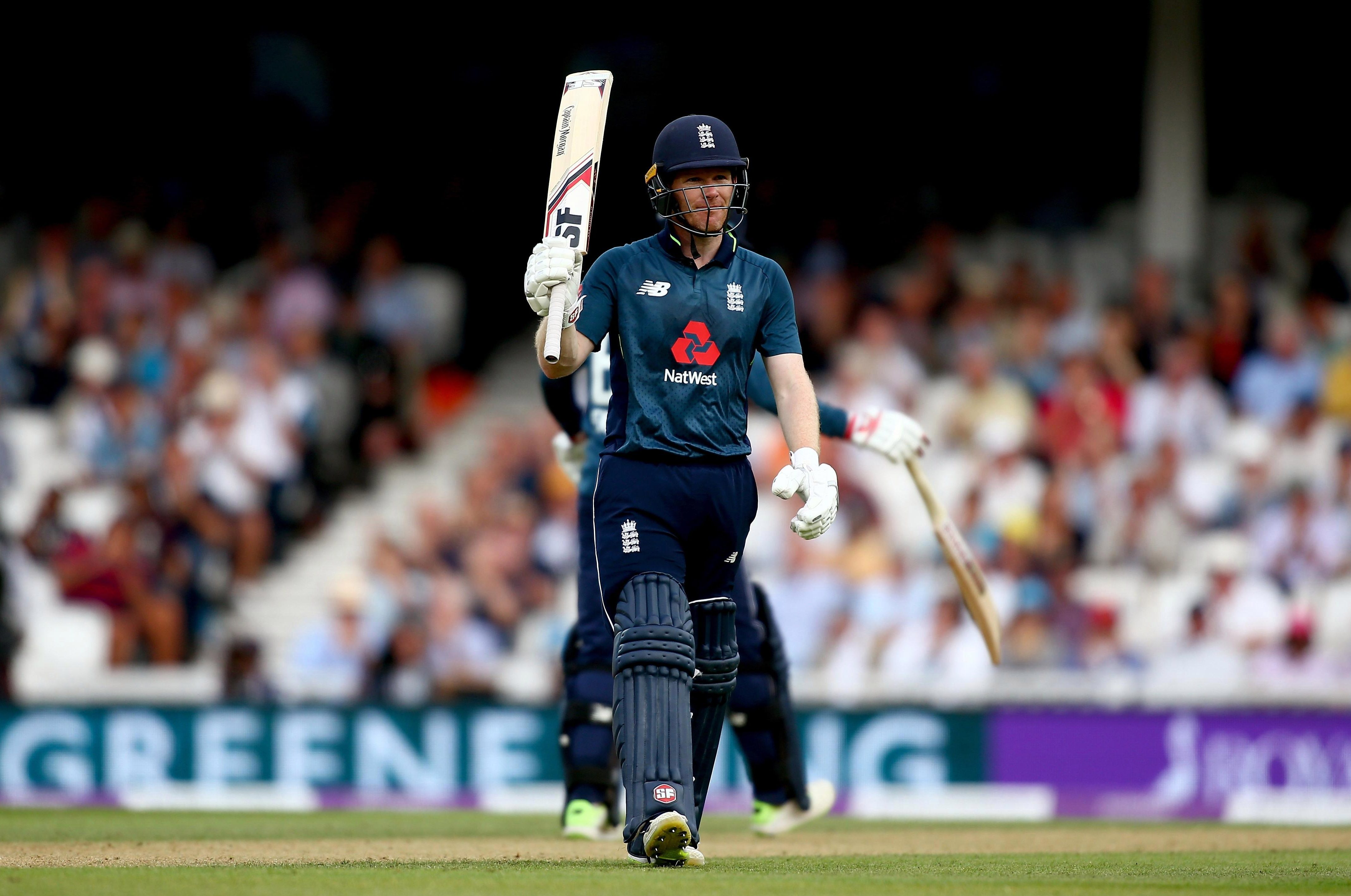 Eoin Morgan scored a half century after the Aussies failed to post a challenging total
