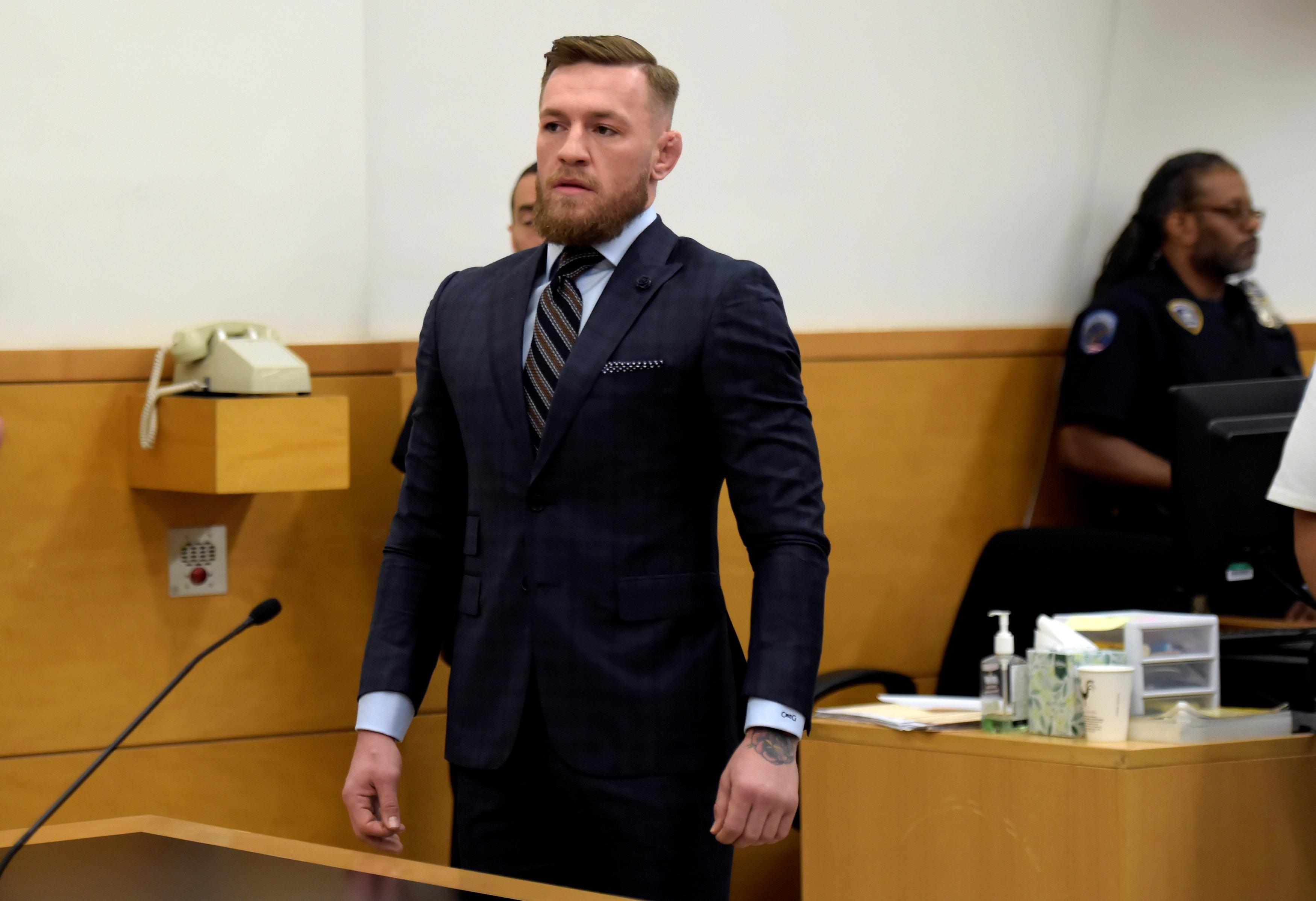 McGregor appears in Brooklyn Supreme Court during a hearing over his assault charges