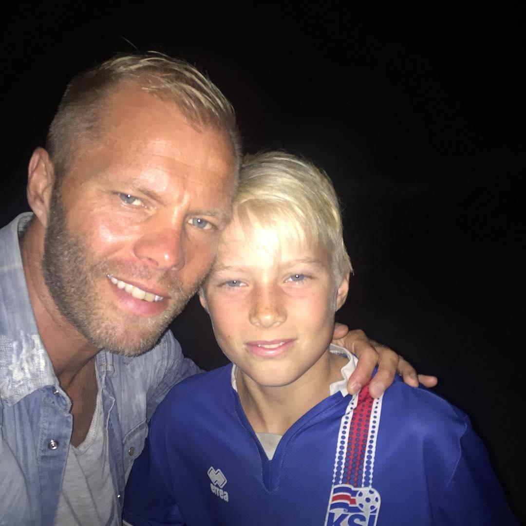 Gudjohnsen with 12-year-old son Daniel Tristan, who is highly-rated by Barcelona where is part of their academy