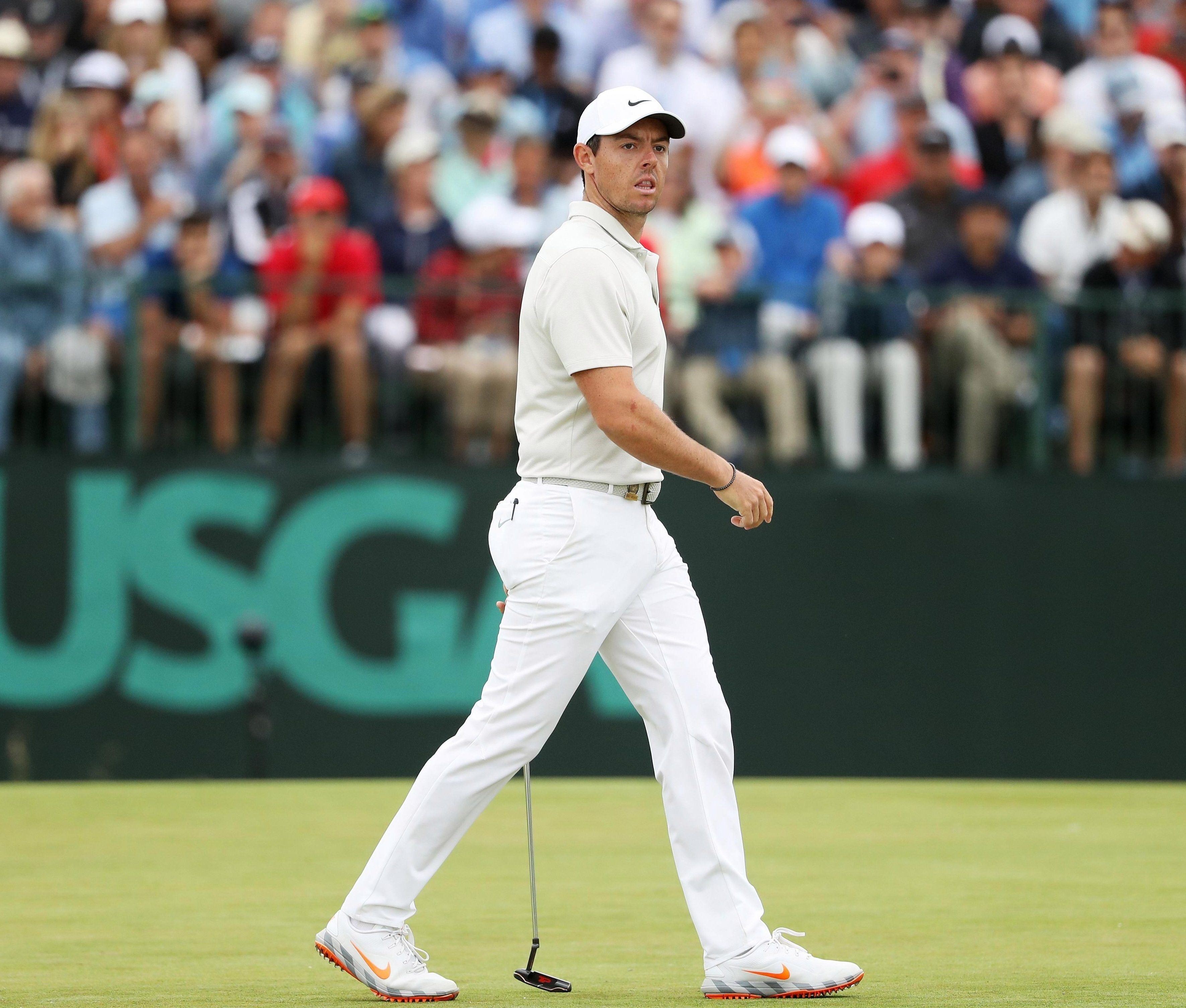 Rory McIlroy looks back in anguish during his miserable two days at Shinnecock Hills Golf Club