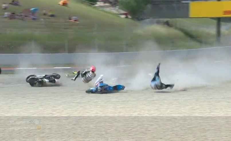 Two riders were sent tumbling at the Catalan Moto GP today