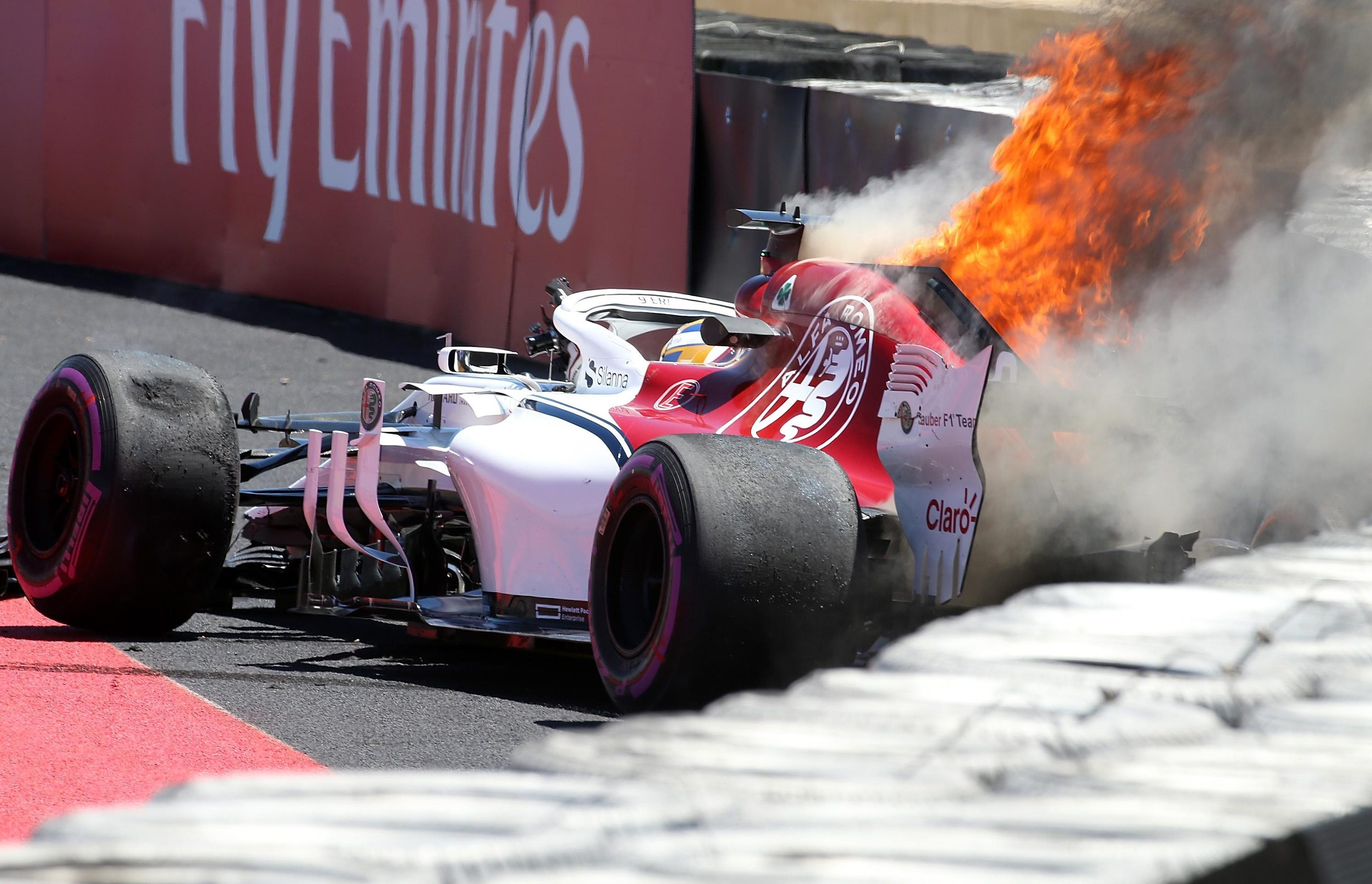 Marcus Ericsson crashed with three minutes of the practice session left