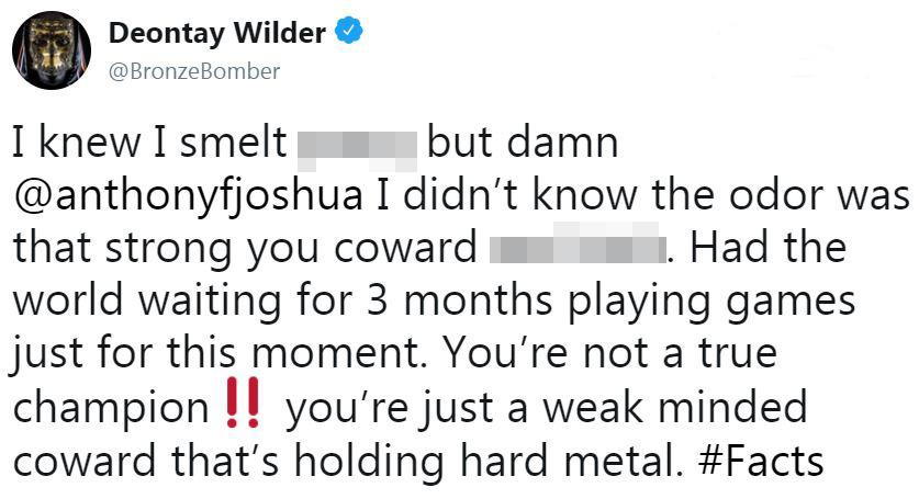 Deontay Wilder did not hold back as to what he thought of Anthony Joshua and Eddie Hearn