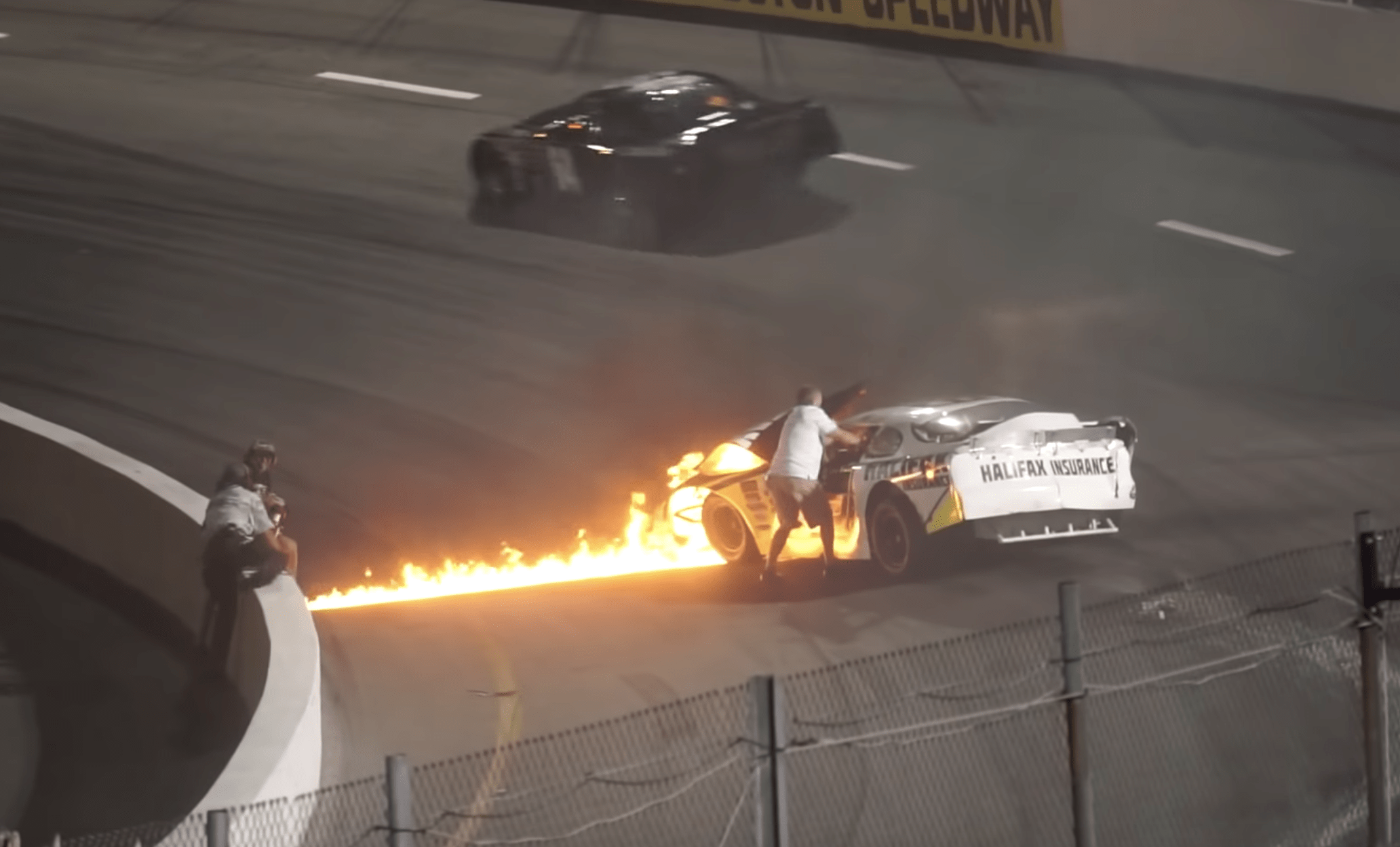 Sparks began to fly from the car before it was engulfed in flames and Jones was stuck in the vehicle for around 20 seconds