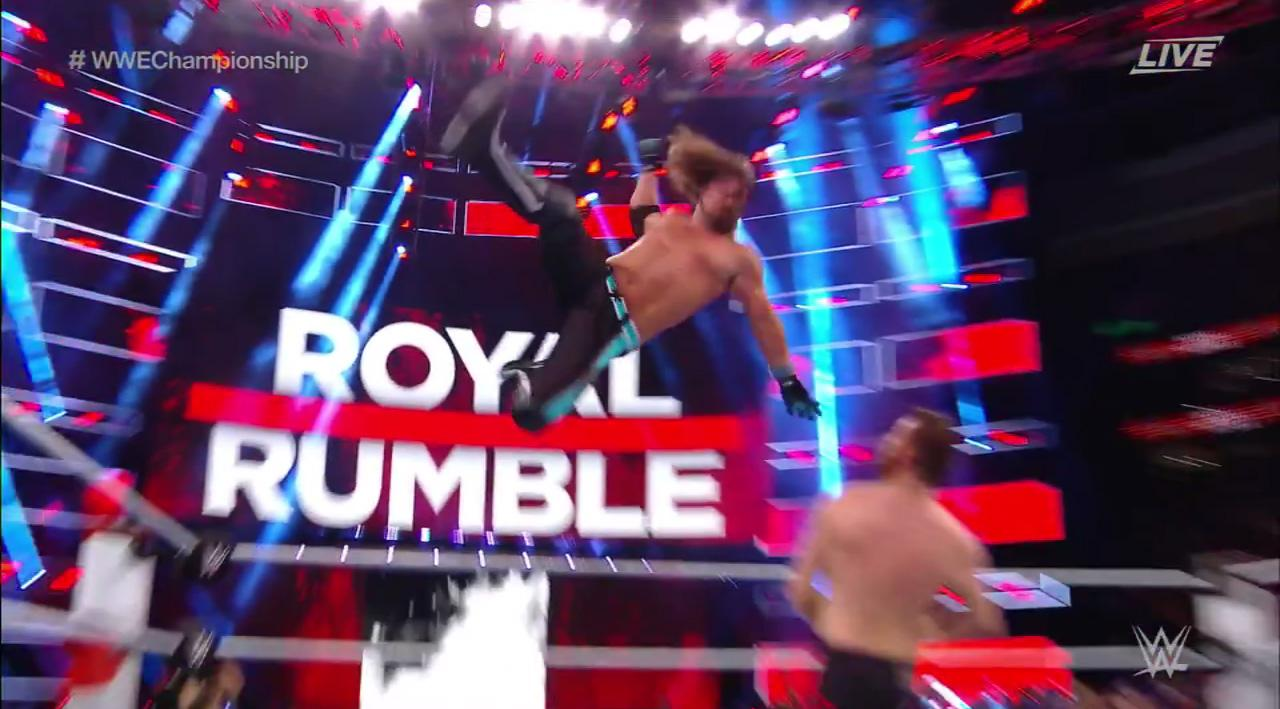 The WWE showpiece sees all wrestlers fighting in the ring at the same time