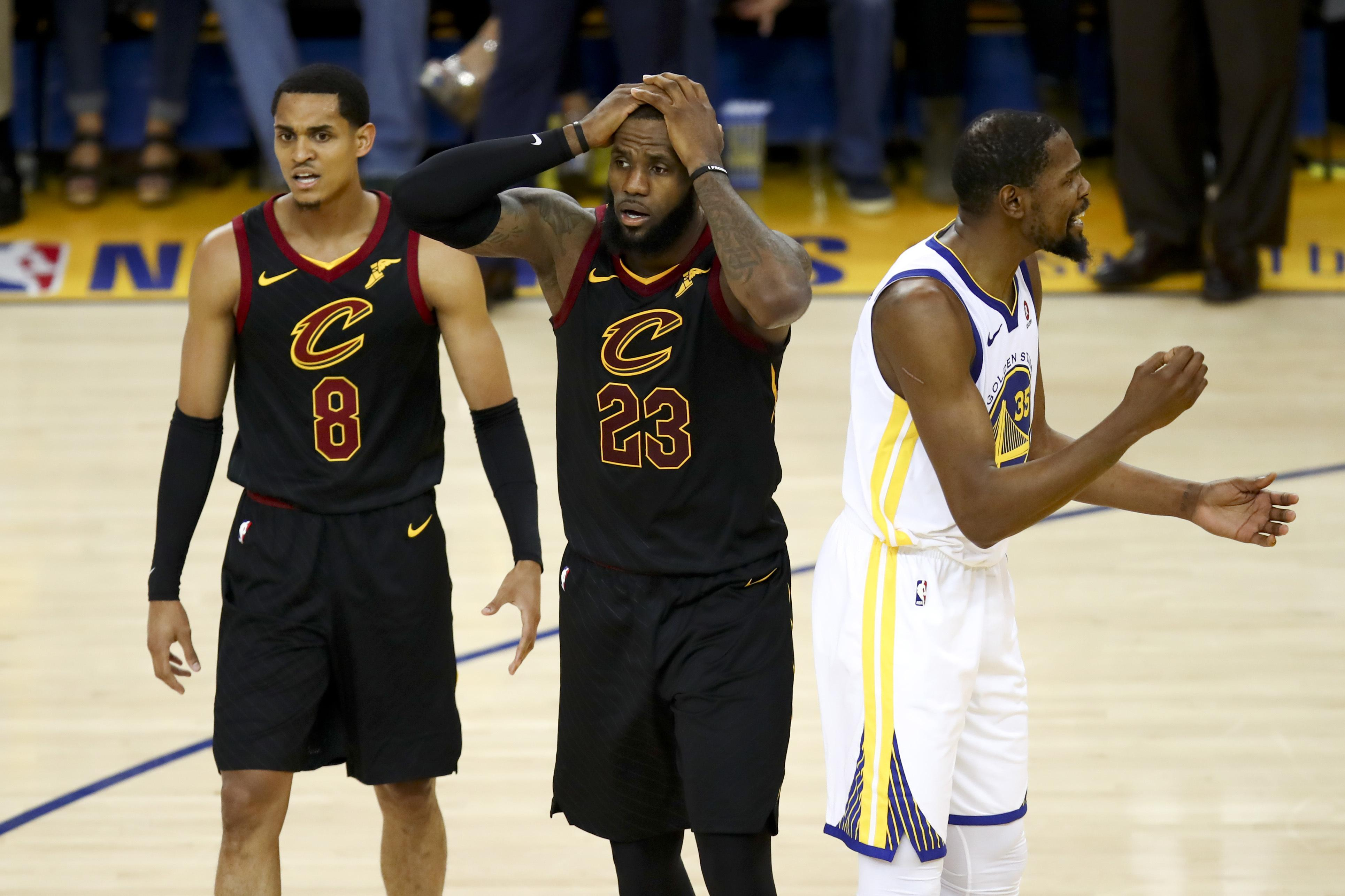 LeBron cant hide his disbelief at the end of the game