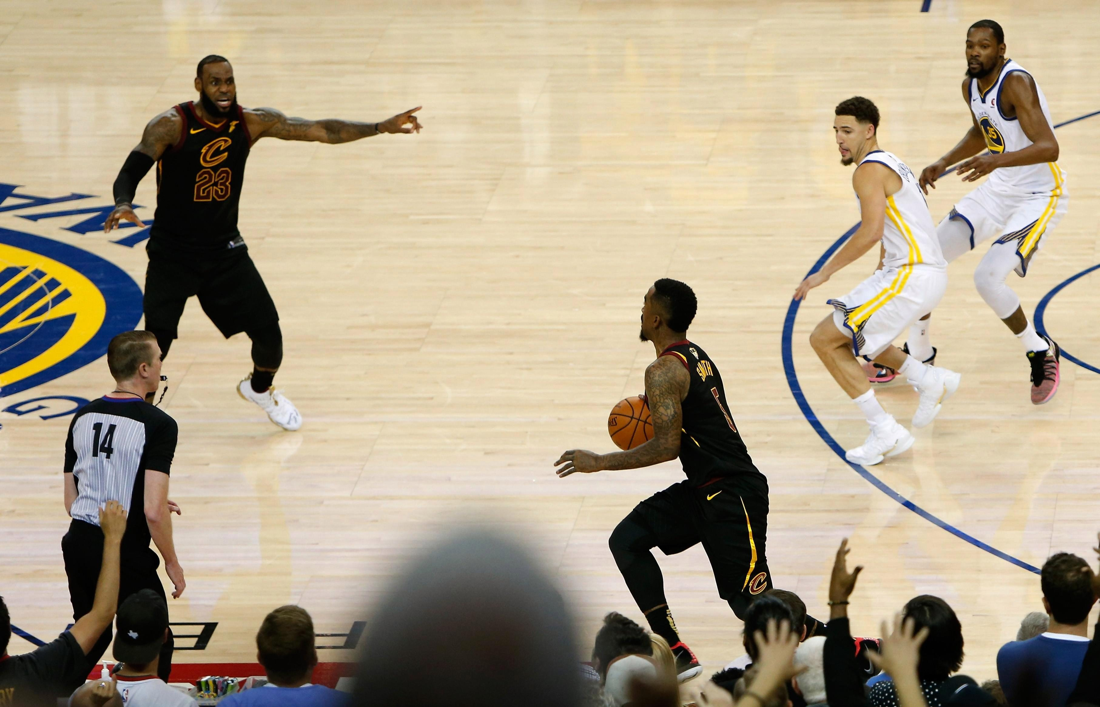 JR Smith had the chance to win the game with the score level - but dribbled AWAY from the basket and ran down the clock