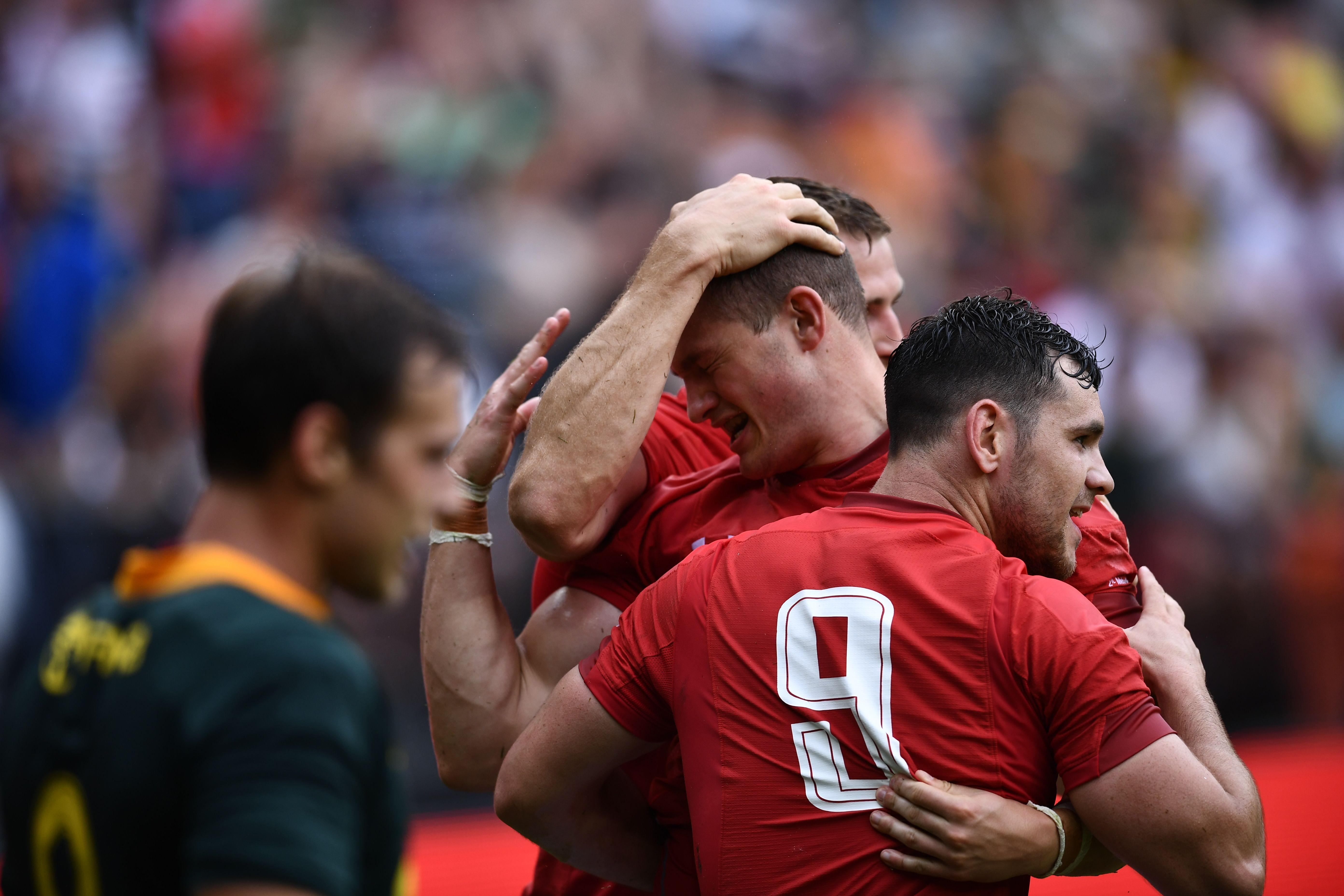 Wales celebrate Hallam Amos' first try a the RFK Stadium in Washington DC