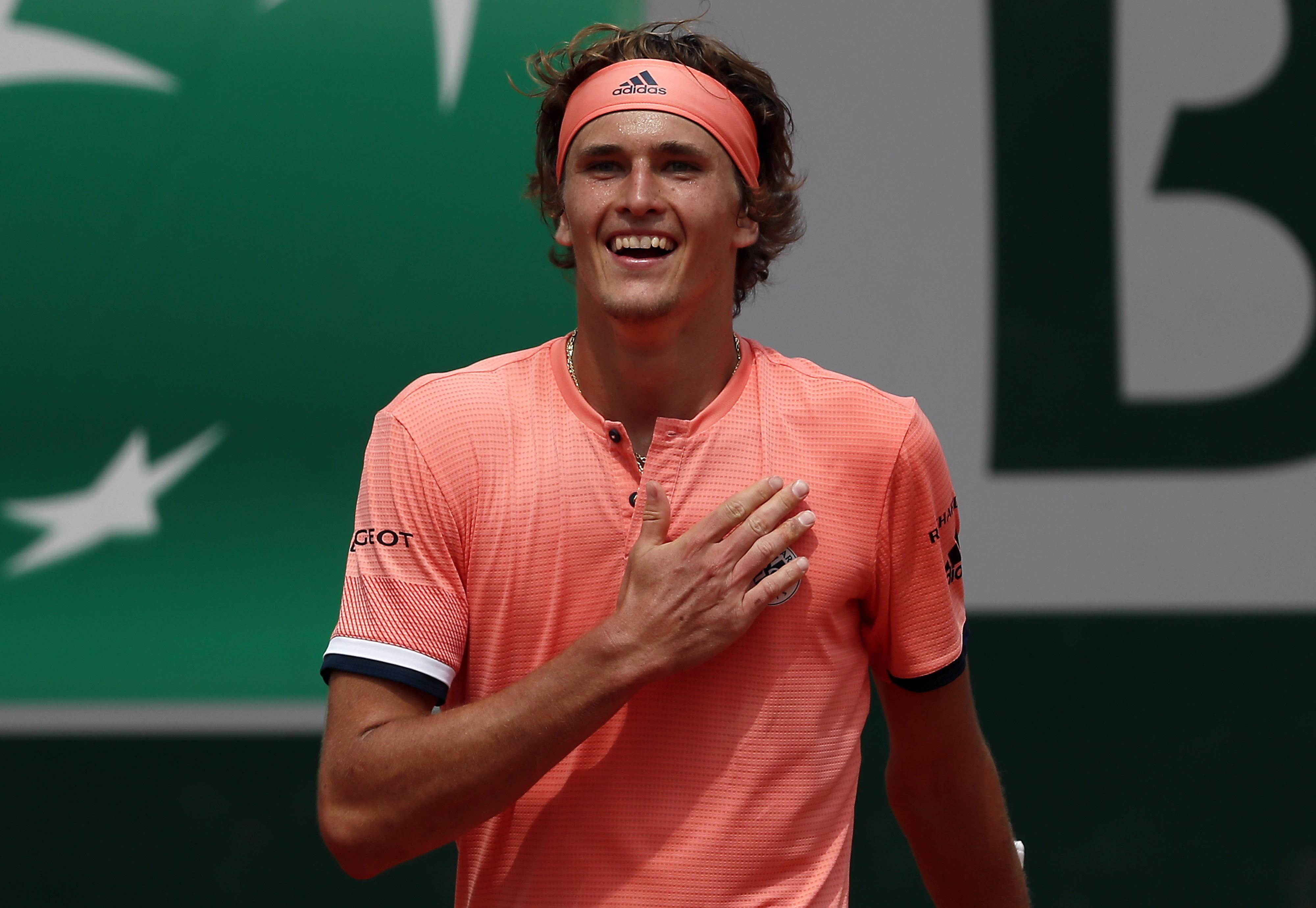 Alexander Zverev reached his first Grand Slam quarter-final on Sunday