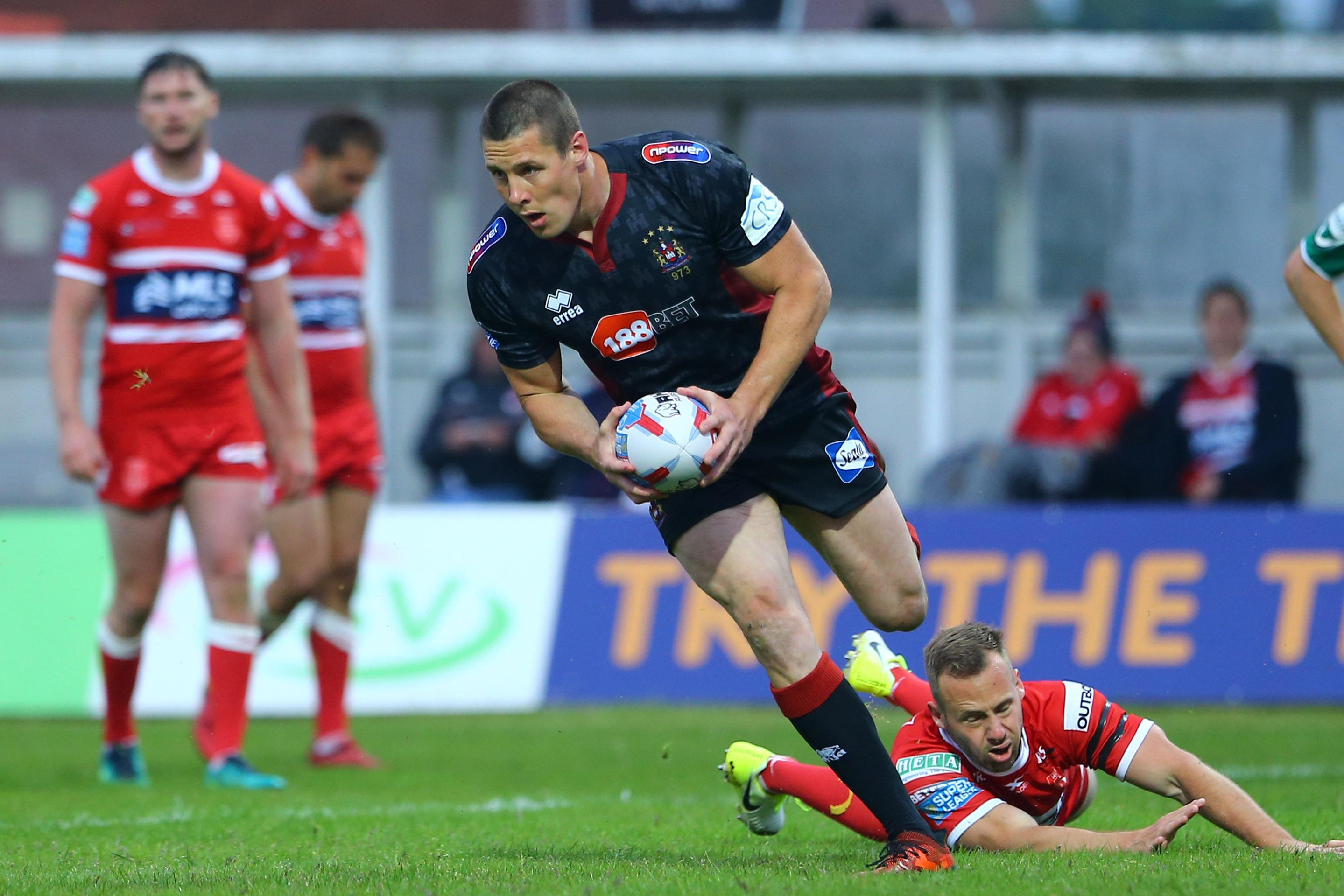 Joel Tomkins pictured scoring a try during the Betfred Super League against Hull