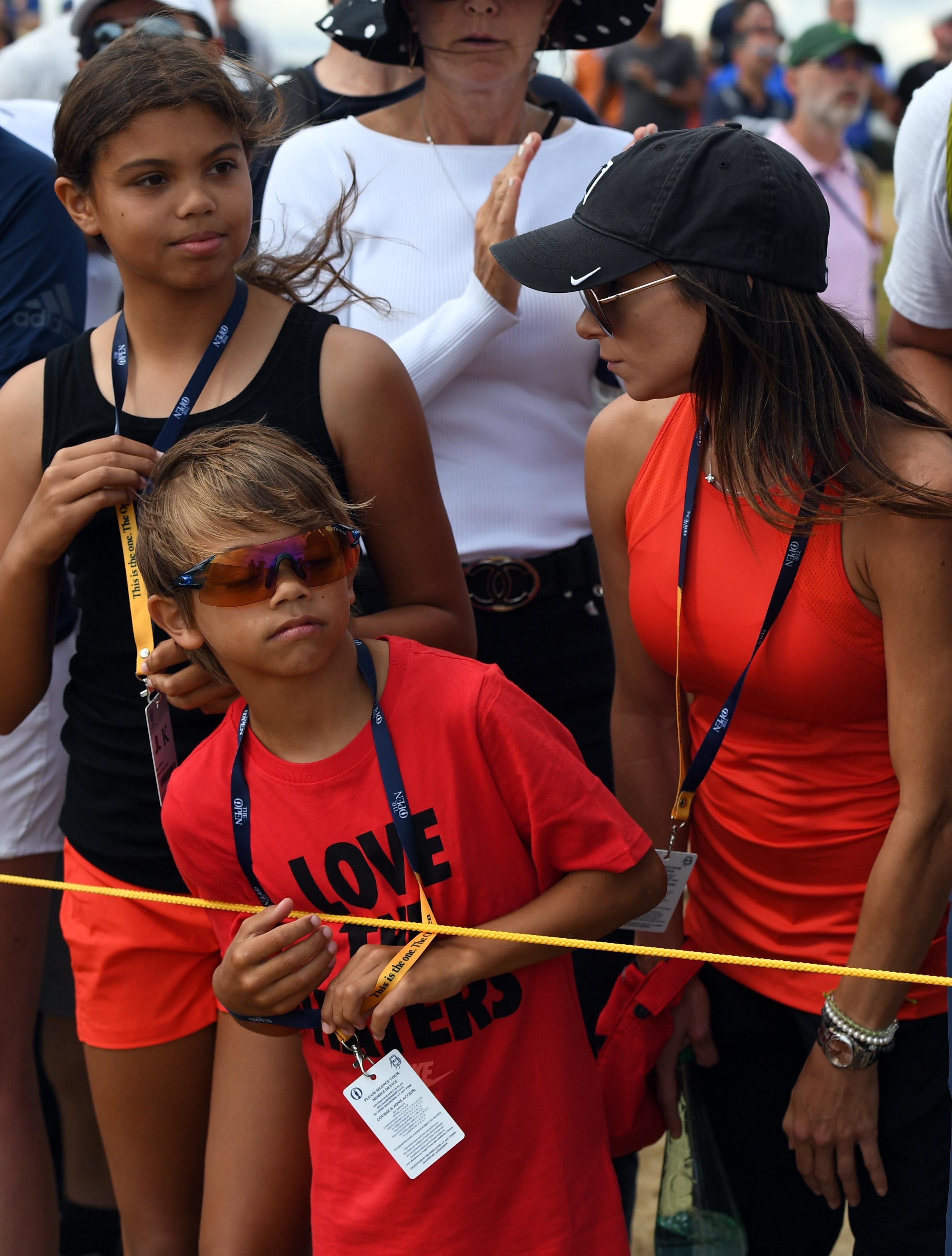 Tiger Woods' girlfriend Erica Herman and his daughter, Sam, and son, Charlie