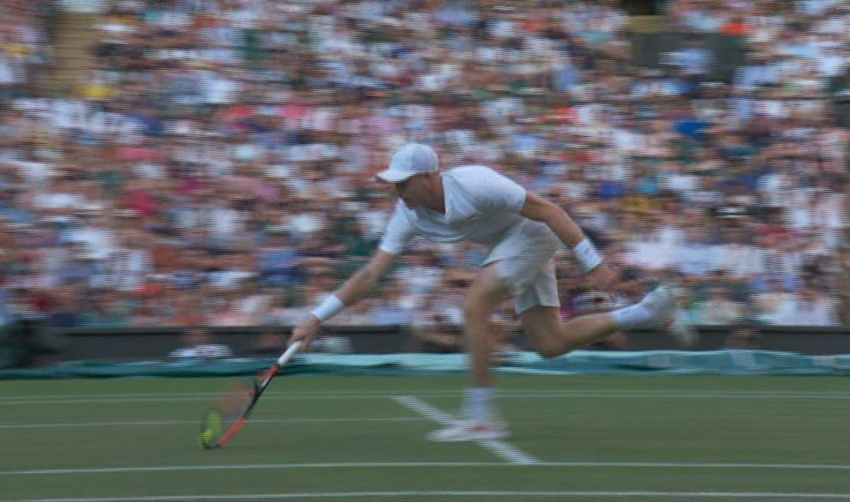 Edmund clinched what appeared to be a crucial point when the ball looked to have bounced twice - but the umpire called in his favour
