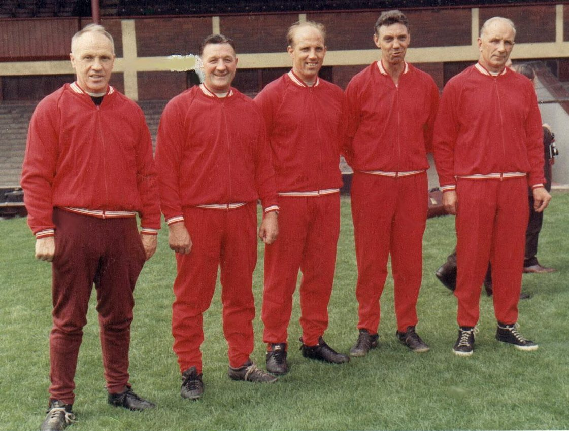 The Boot Room Boys: Shankly poses with his coaching staff Bob Paisley, Ronnie Moran, Joe Fagan and Reuben Bennett