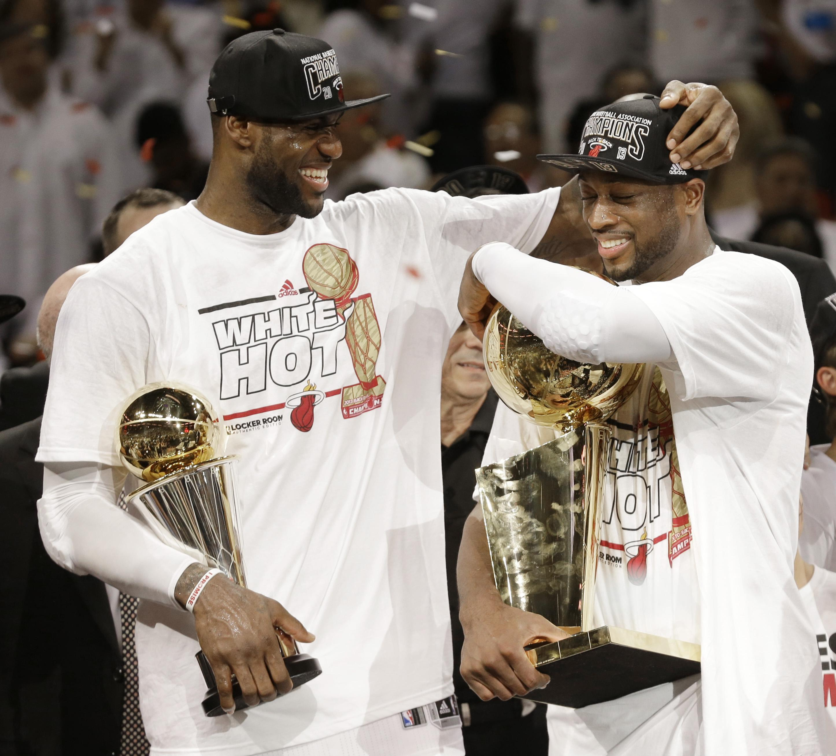 LeBron first left Cleveland in 2010 to join the Miami Heat - he won two titles in four years alongside Dwyane Wade