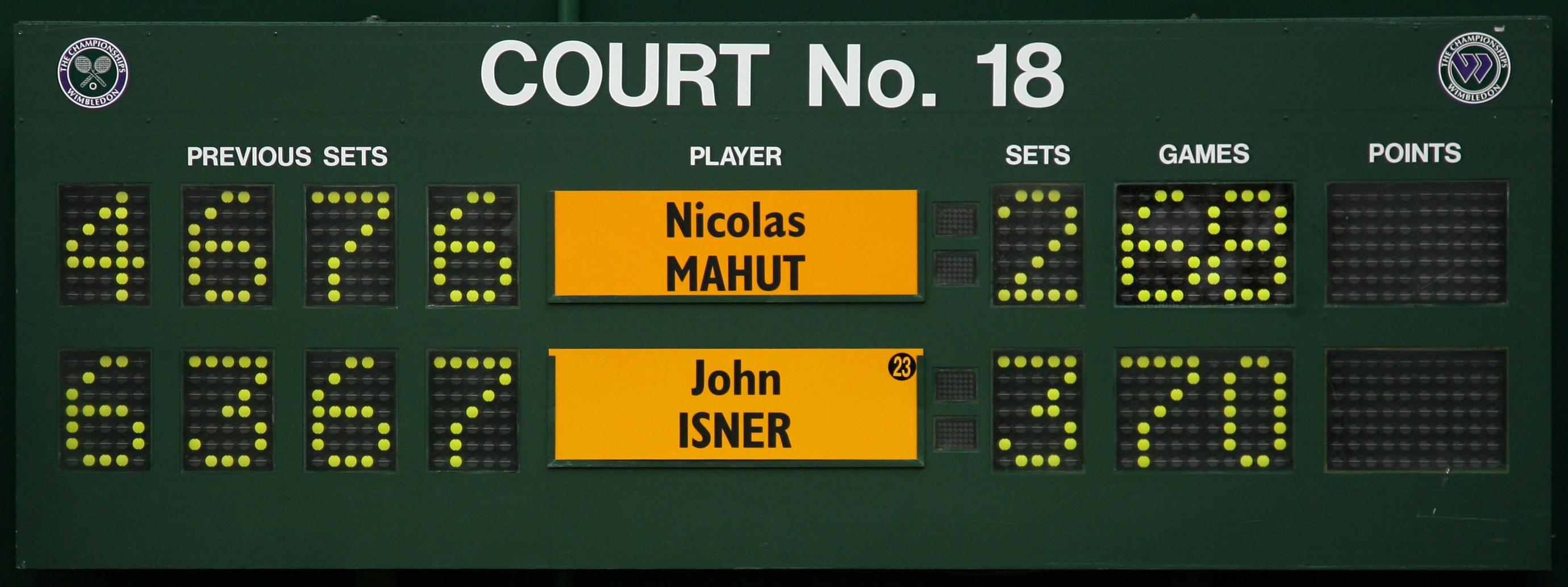 The scoreboard at Wimbledon needed to be reset as Isner played the longest ever tennis match against Nicolas Mahut