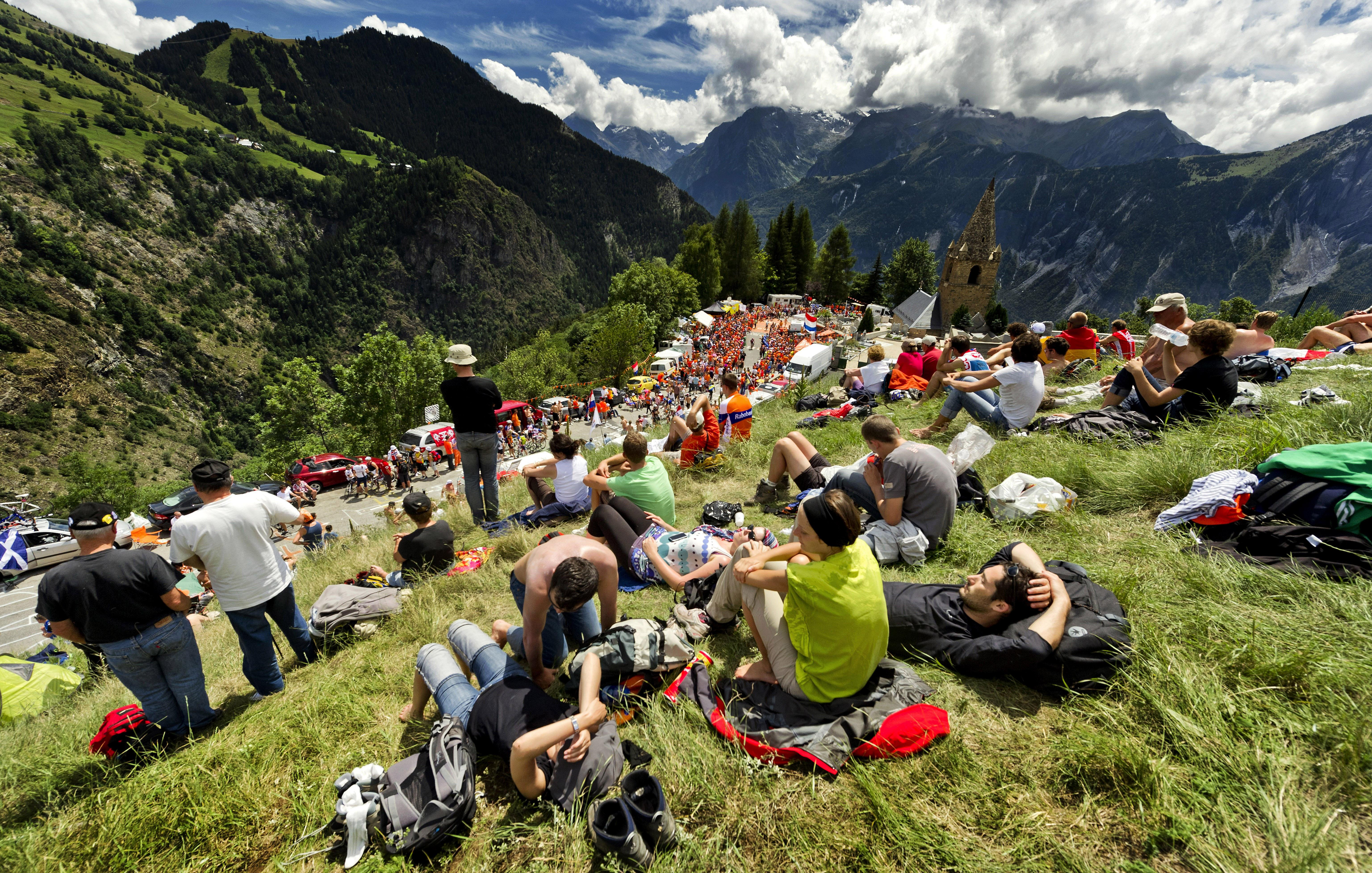 Fans overlooking Dutch corner – riders from the Netherlands have enjoyed huge success at Alpe d'Huez