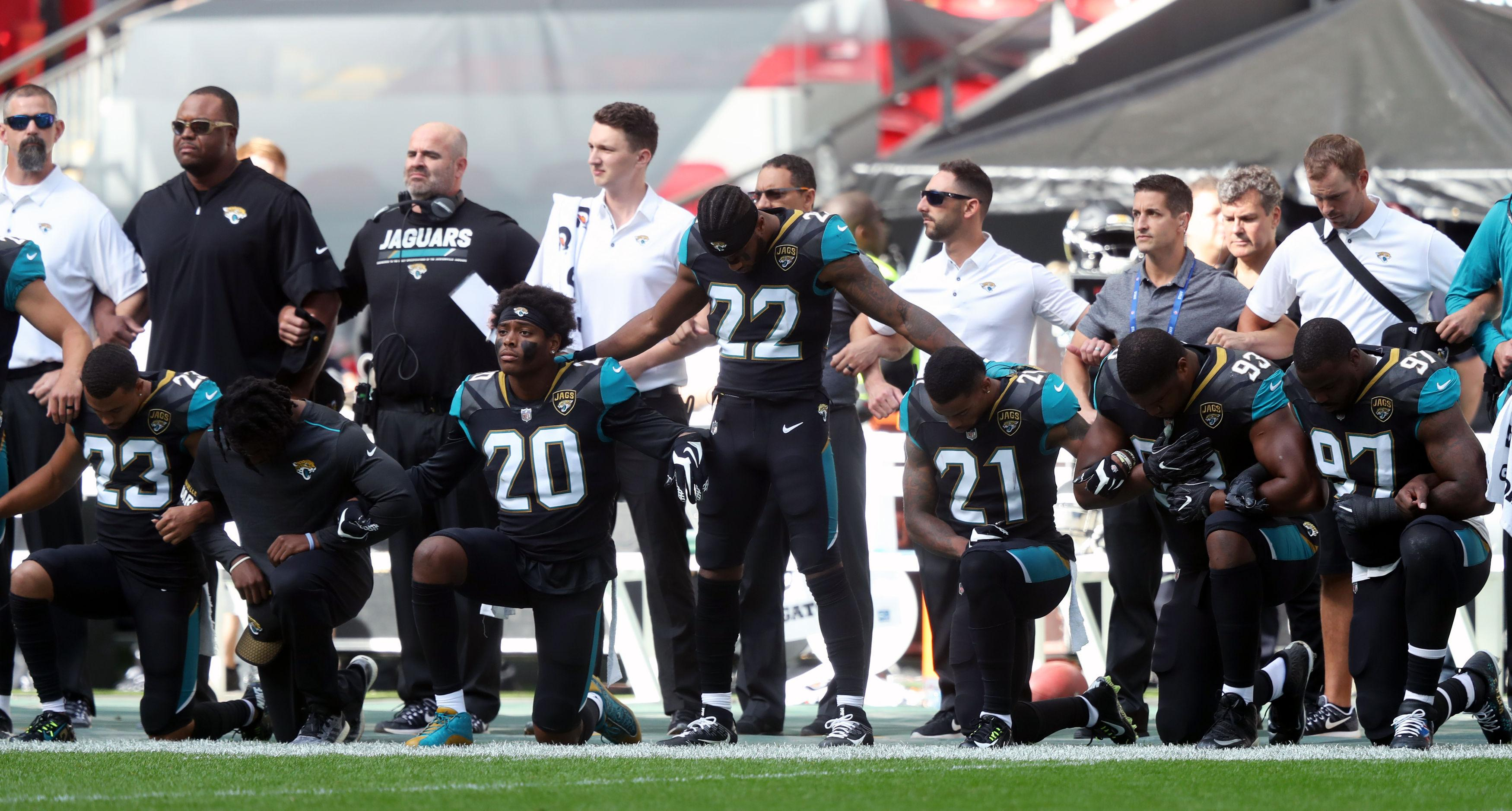 The kneeling protests are a hugely divisive issue Stateside