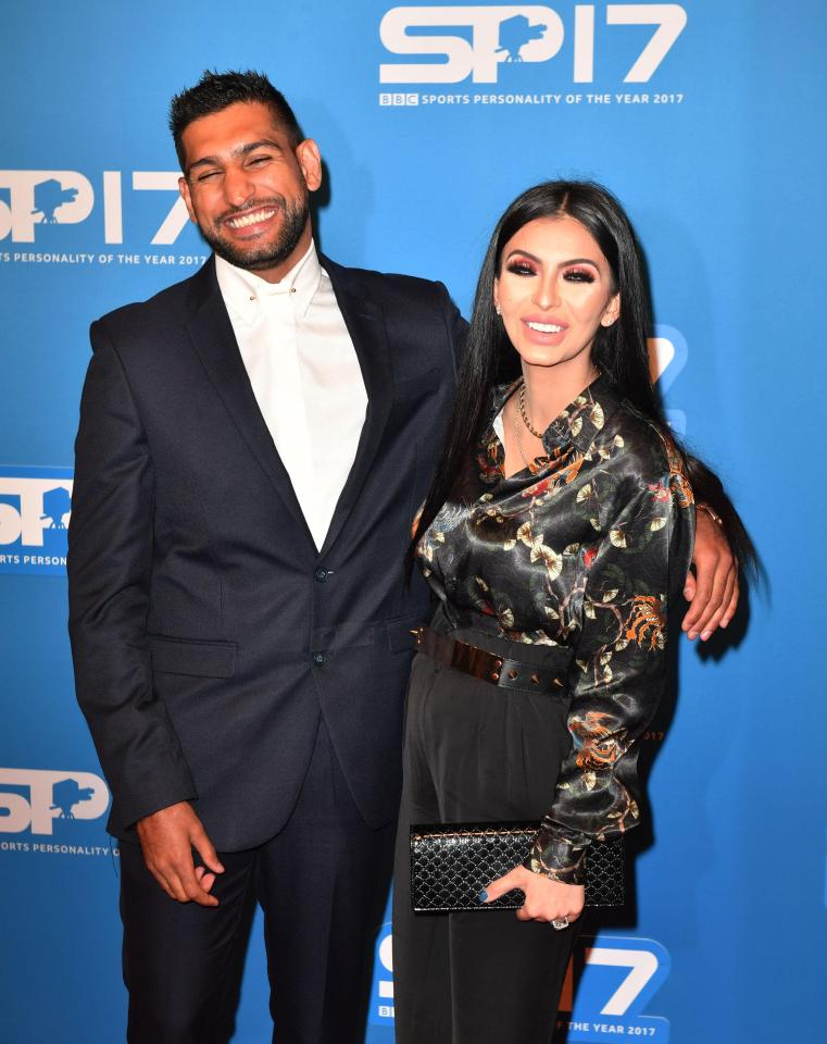 Amir Khan and Faryal Makhdoom during the red carpet arrivals for BBC Sports Personality of the Year 2017