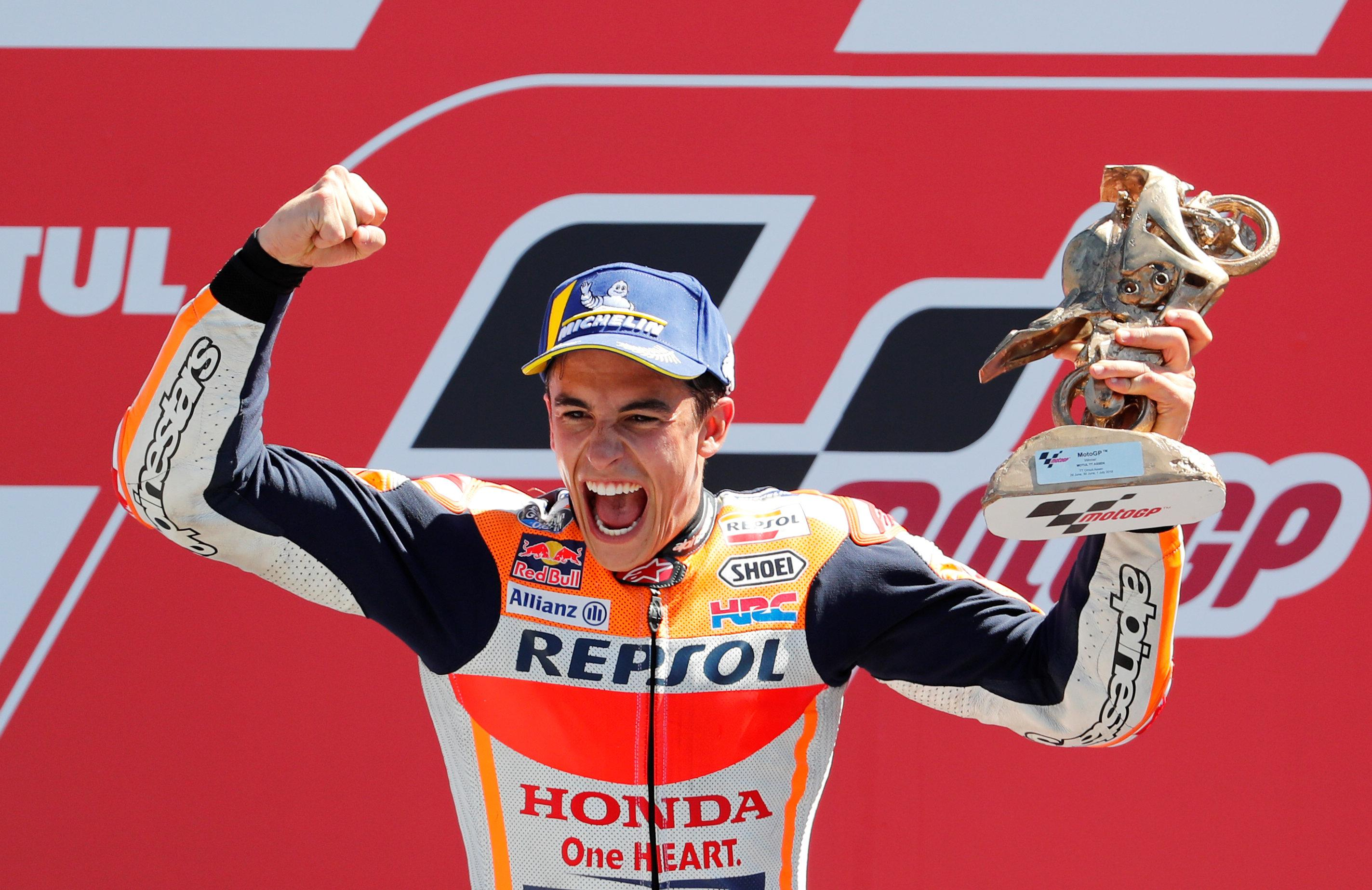 Marc Marquez is all cheer atop the podium in Holland after winning the Dutch GP in style