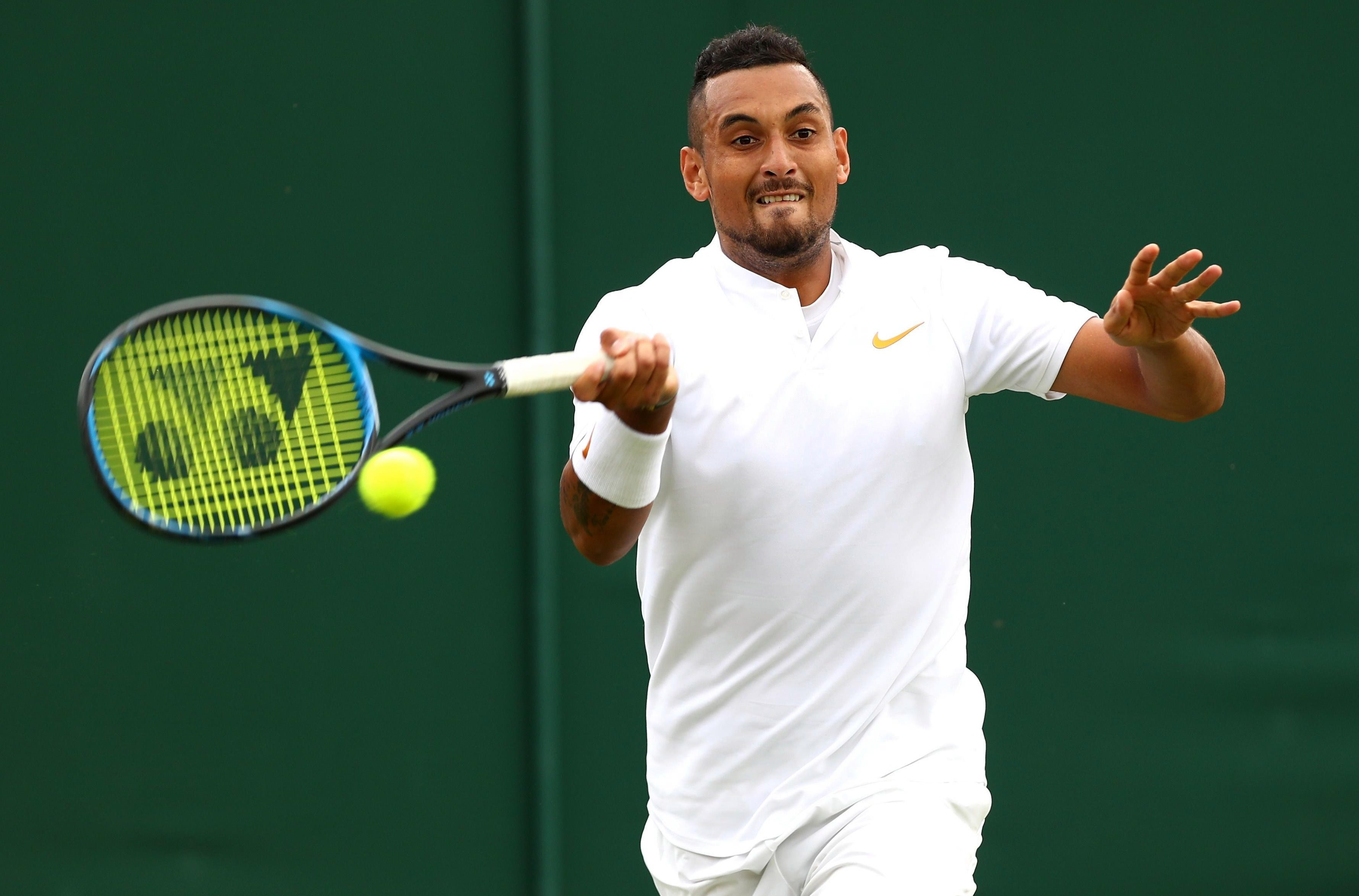 Nick Kyrgios has advanced through to the third round at Wimbledon after beating Robin Haase in straight sets