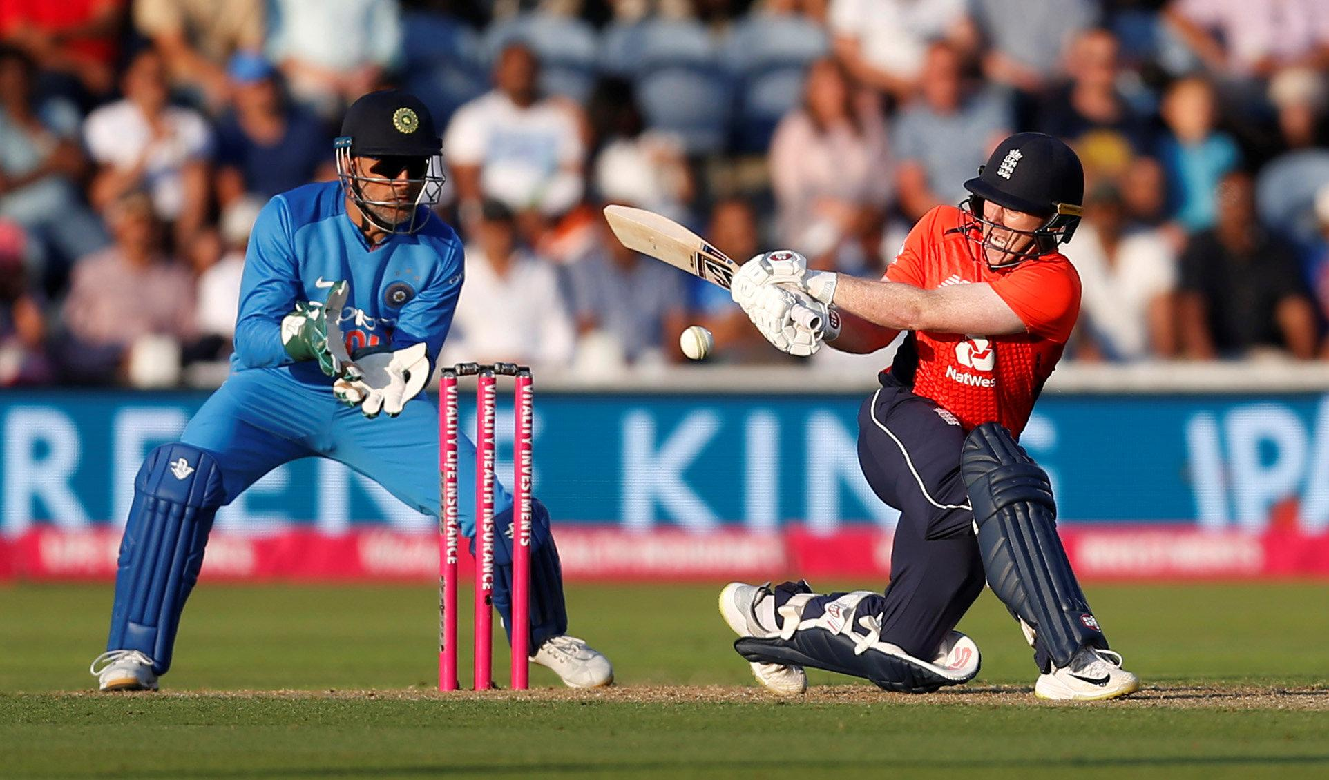 Eoin Morgan helped steady the ship and see England towards their victory target