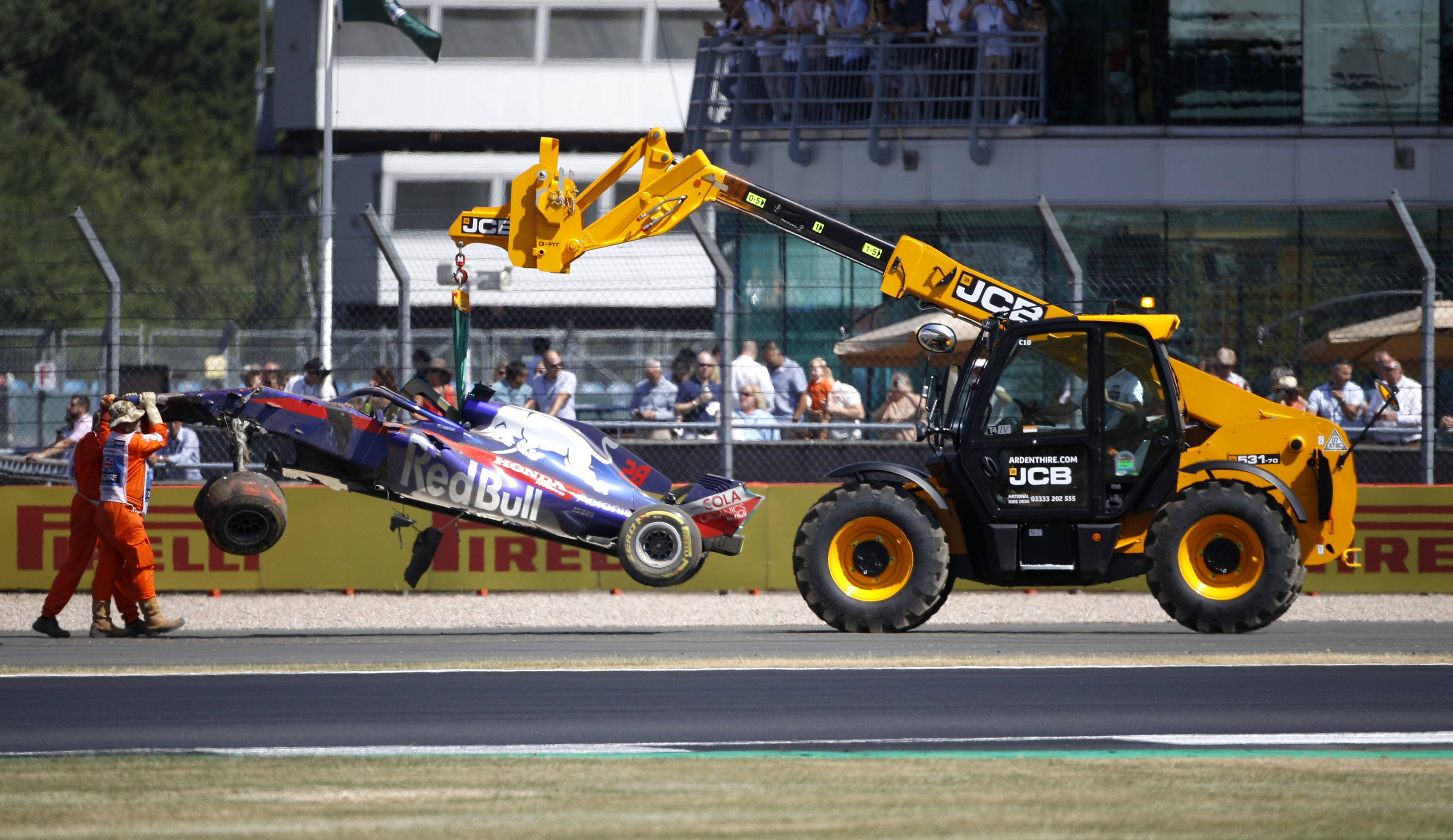 Brendon Hartley's car was lifted off the track