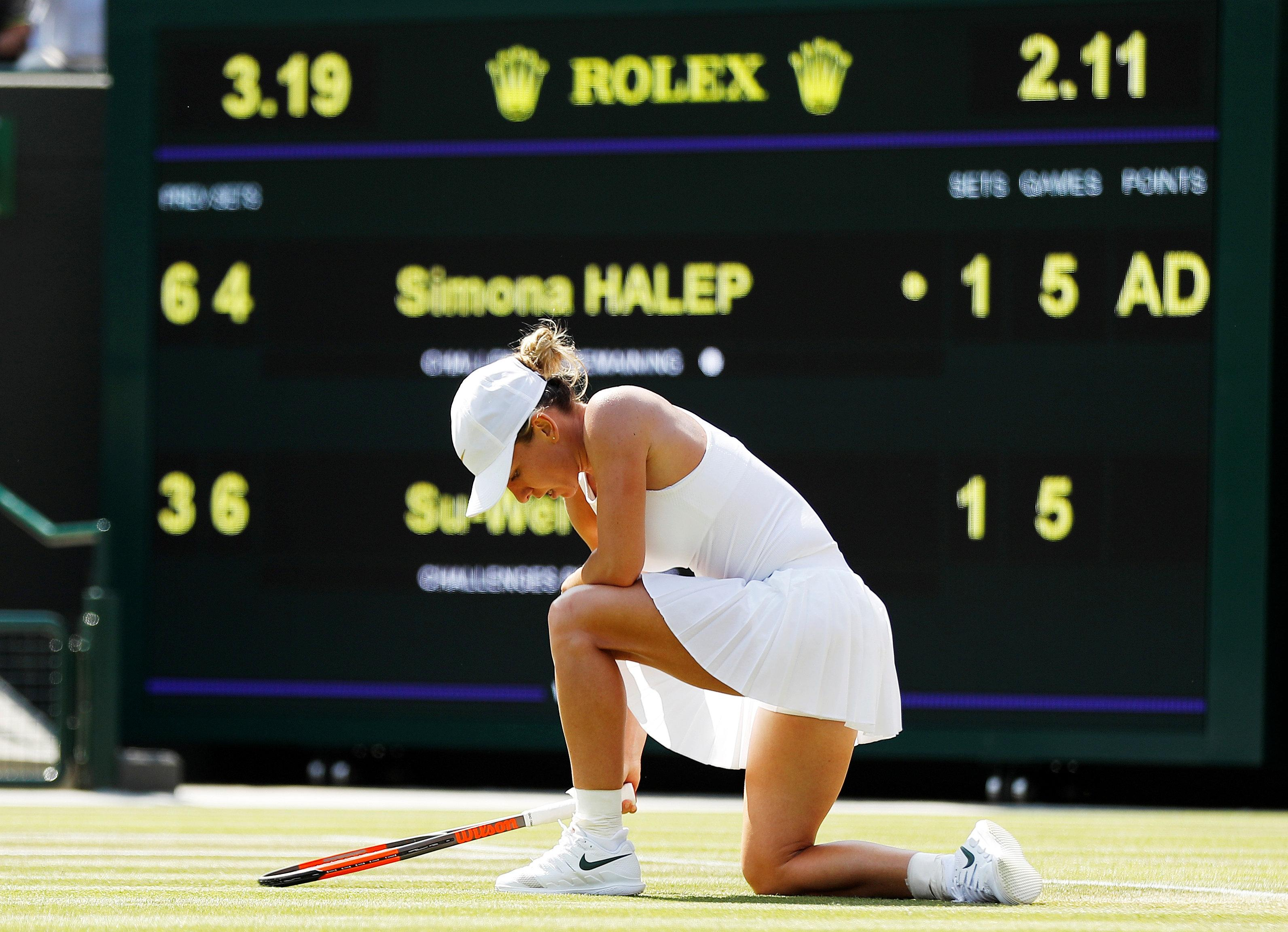 World number one Simona Halep has seen her Wimbledon dreams ended by a shock defeat