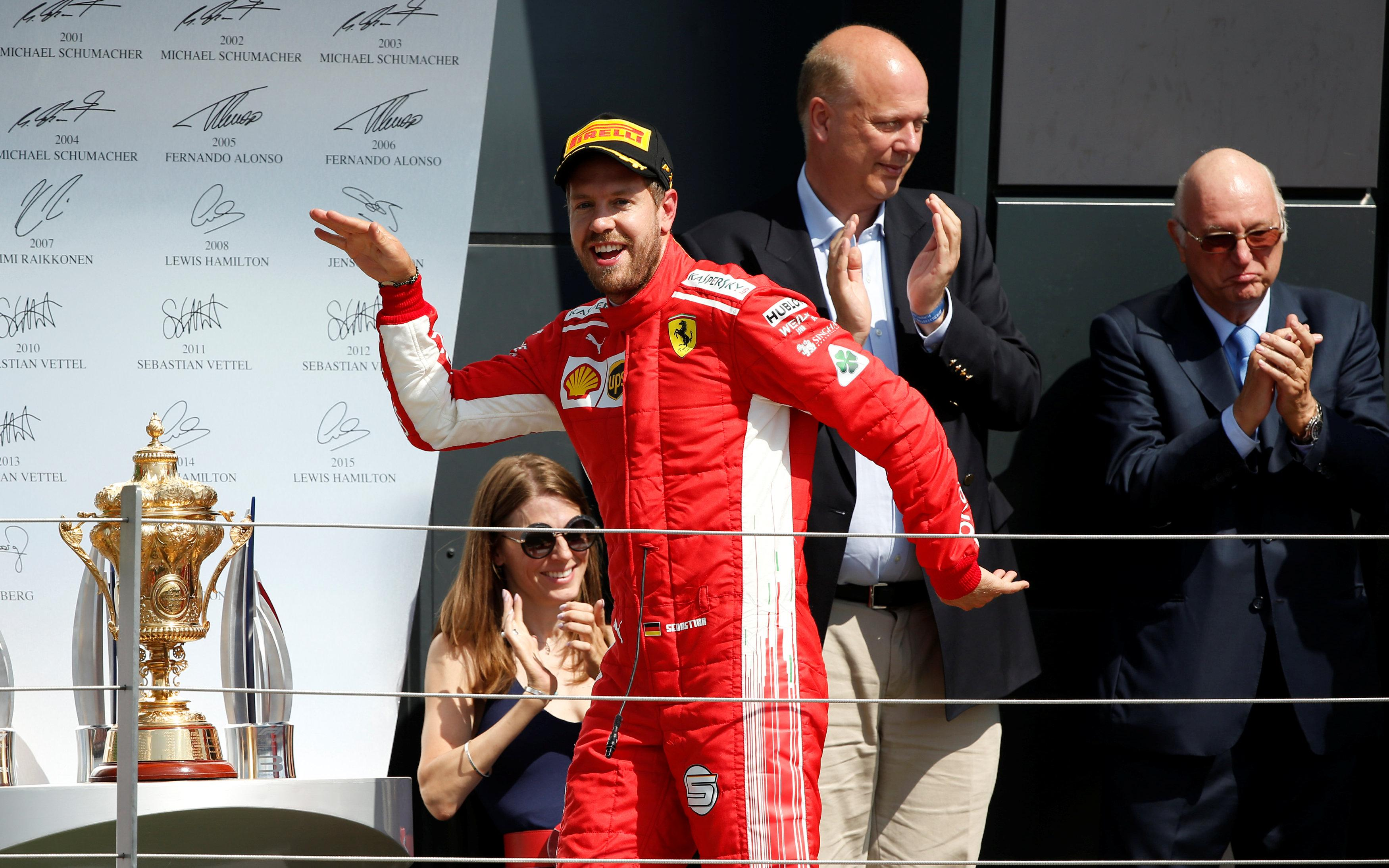Winner Vettel now leads the drivers' championship by eight points