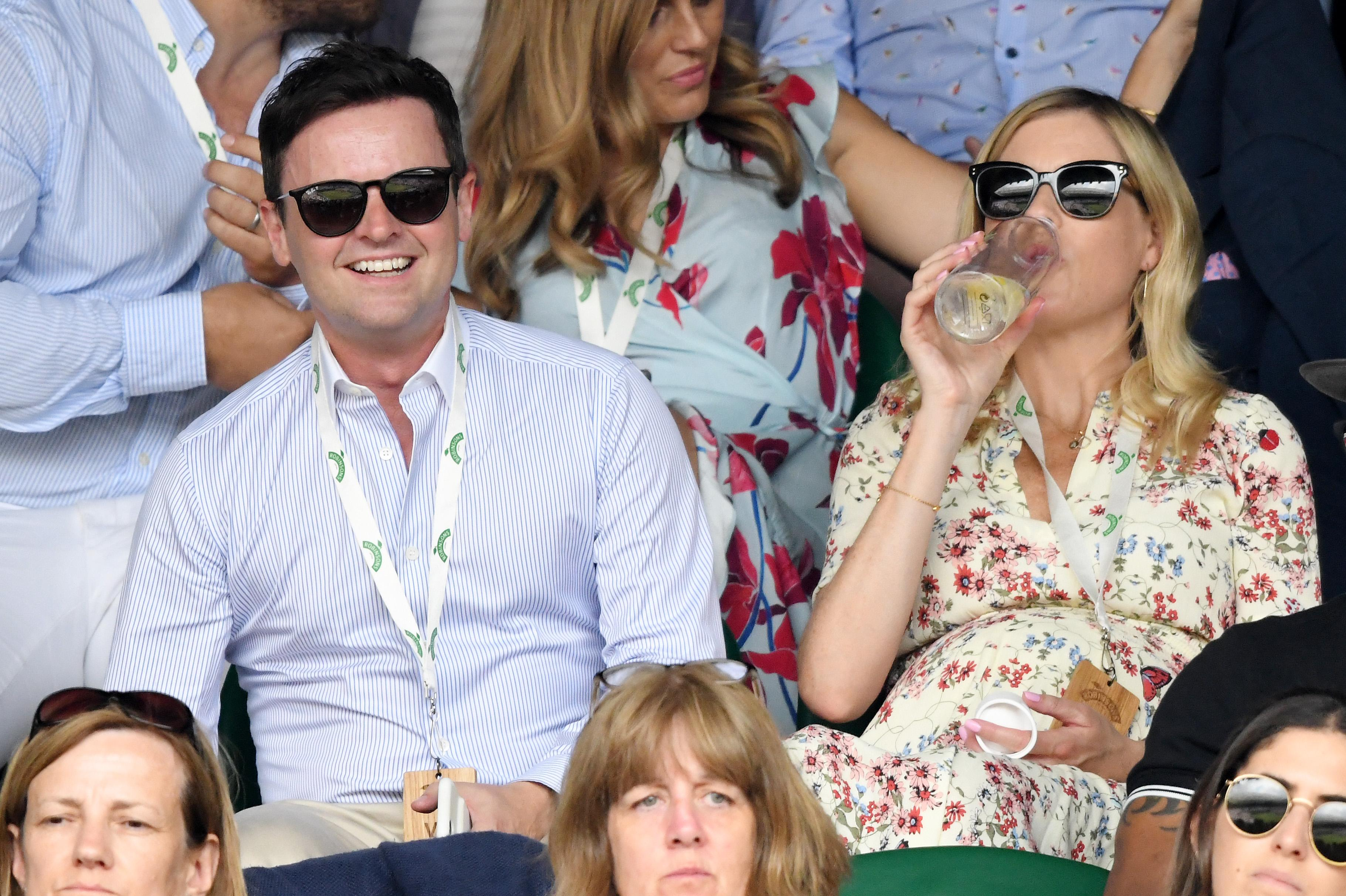 Dec at Wimbledon with his pregnant wife Ali Astall