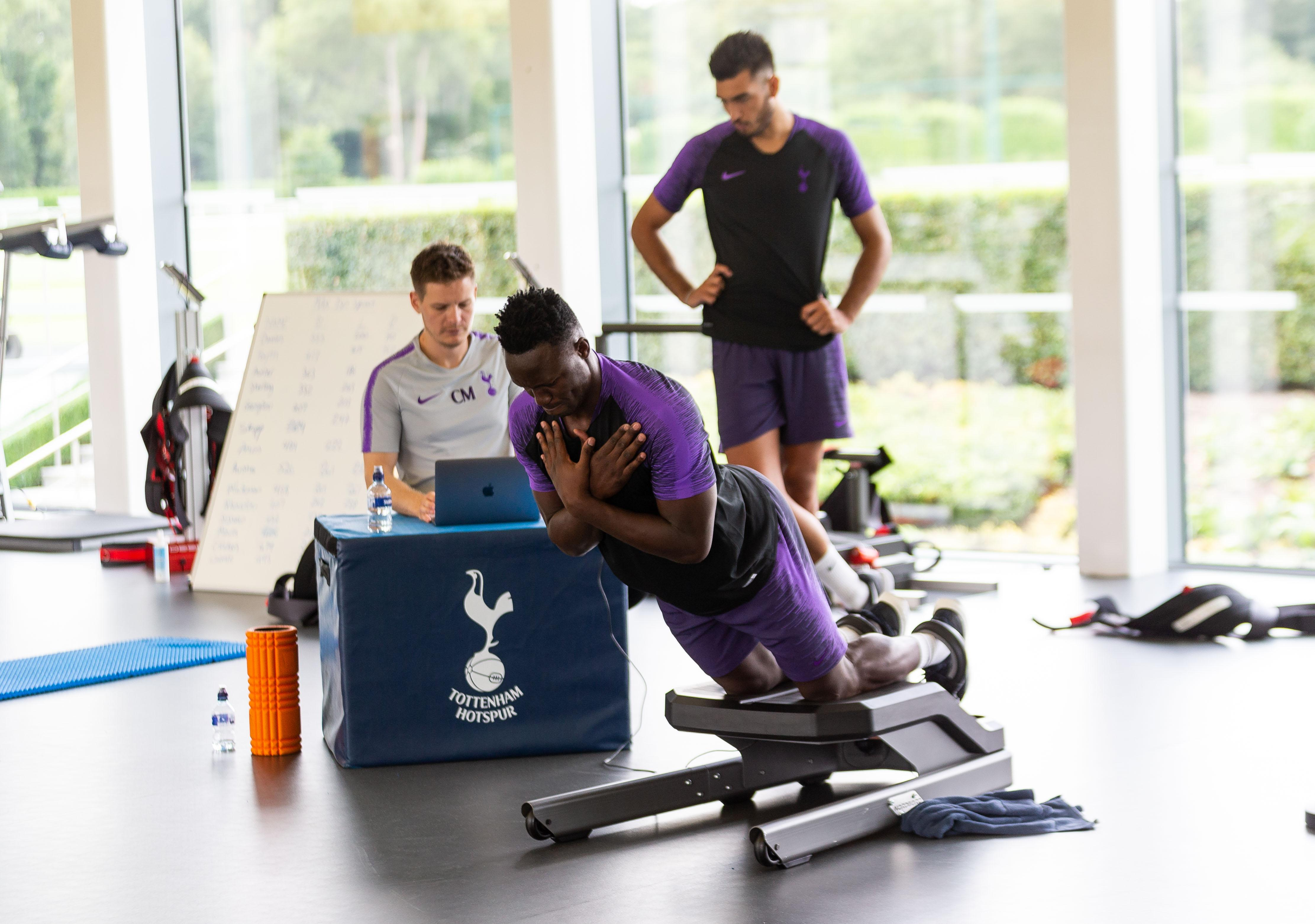 Victor Wanyama trains with Tottenham during pre-season