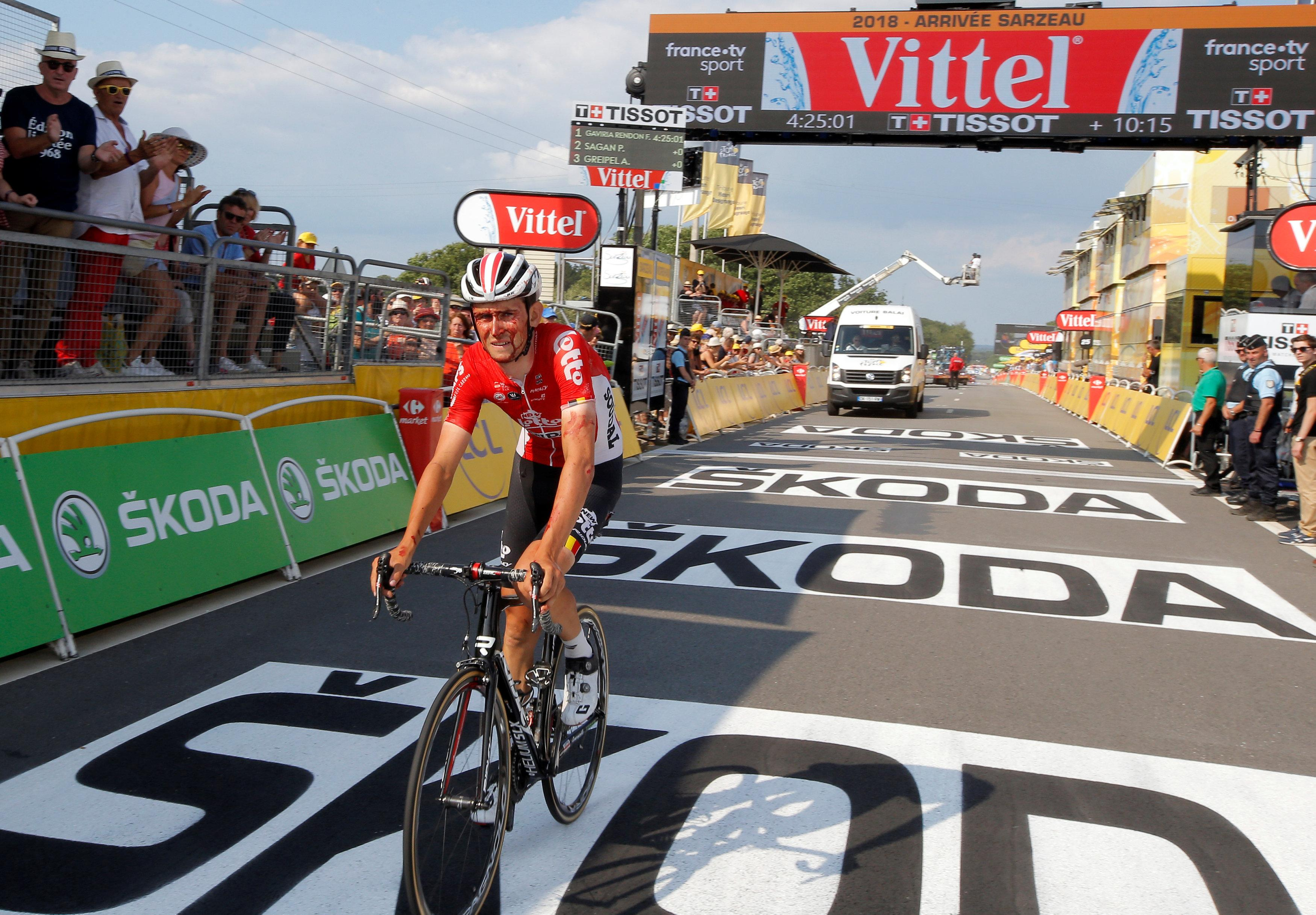 The Lotto Soudal rider looked worse for wear and finished 10min down on the stage winner Fernando Gaviria