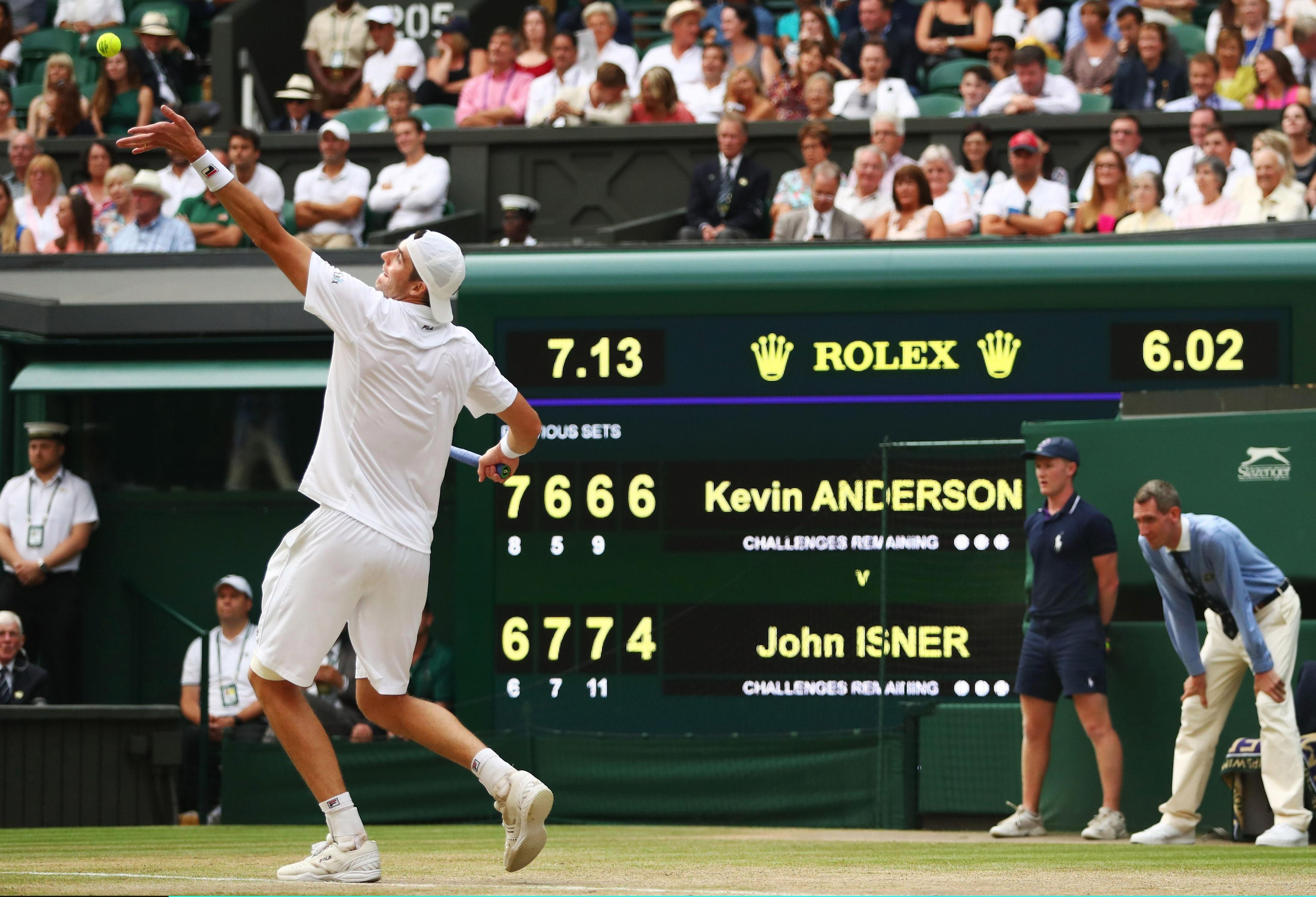 John Isner sends down another rocket as the contest passed the six-hour mark