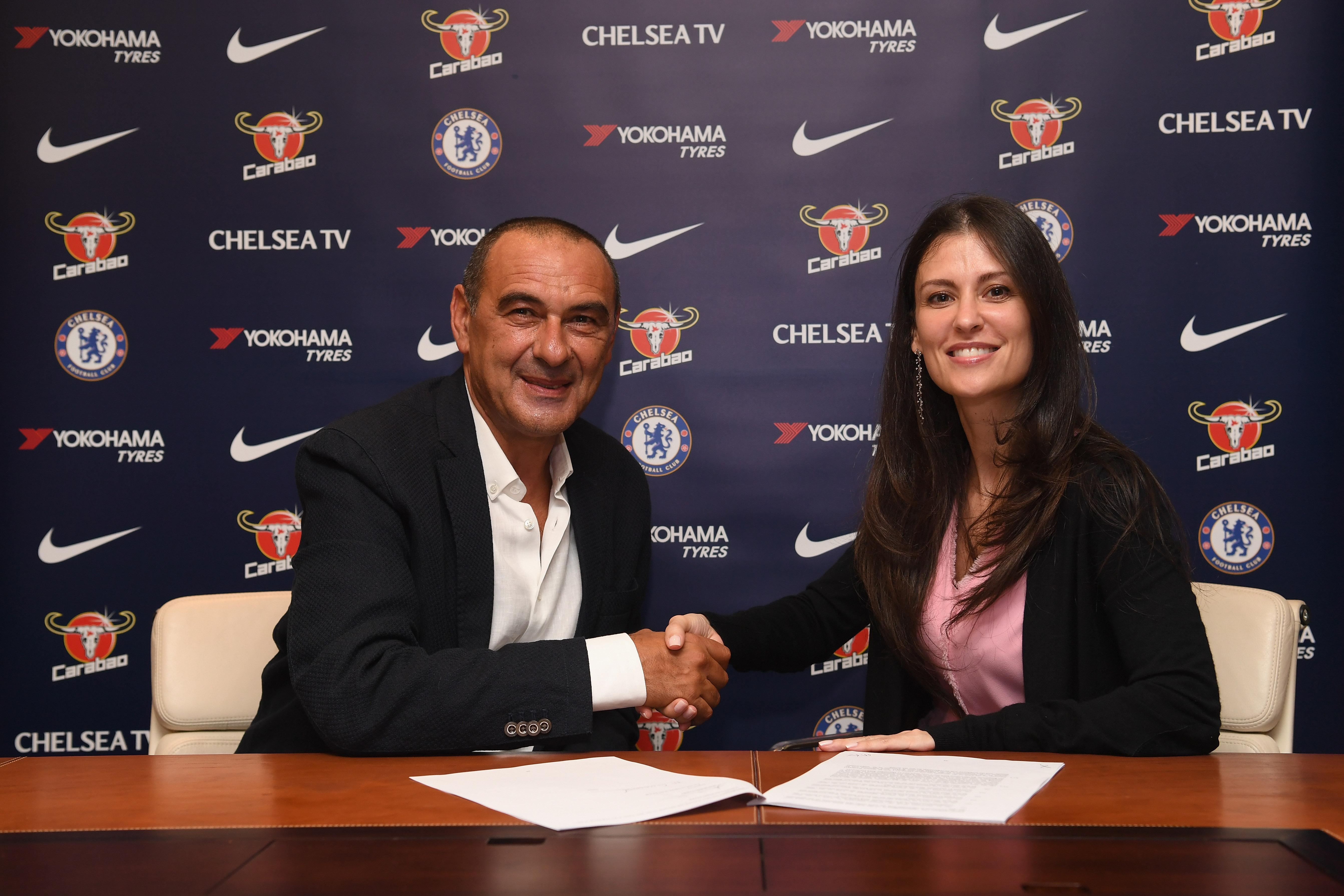 Sarri put pen to paper on a three-year deal with the Blues