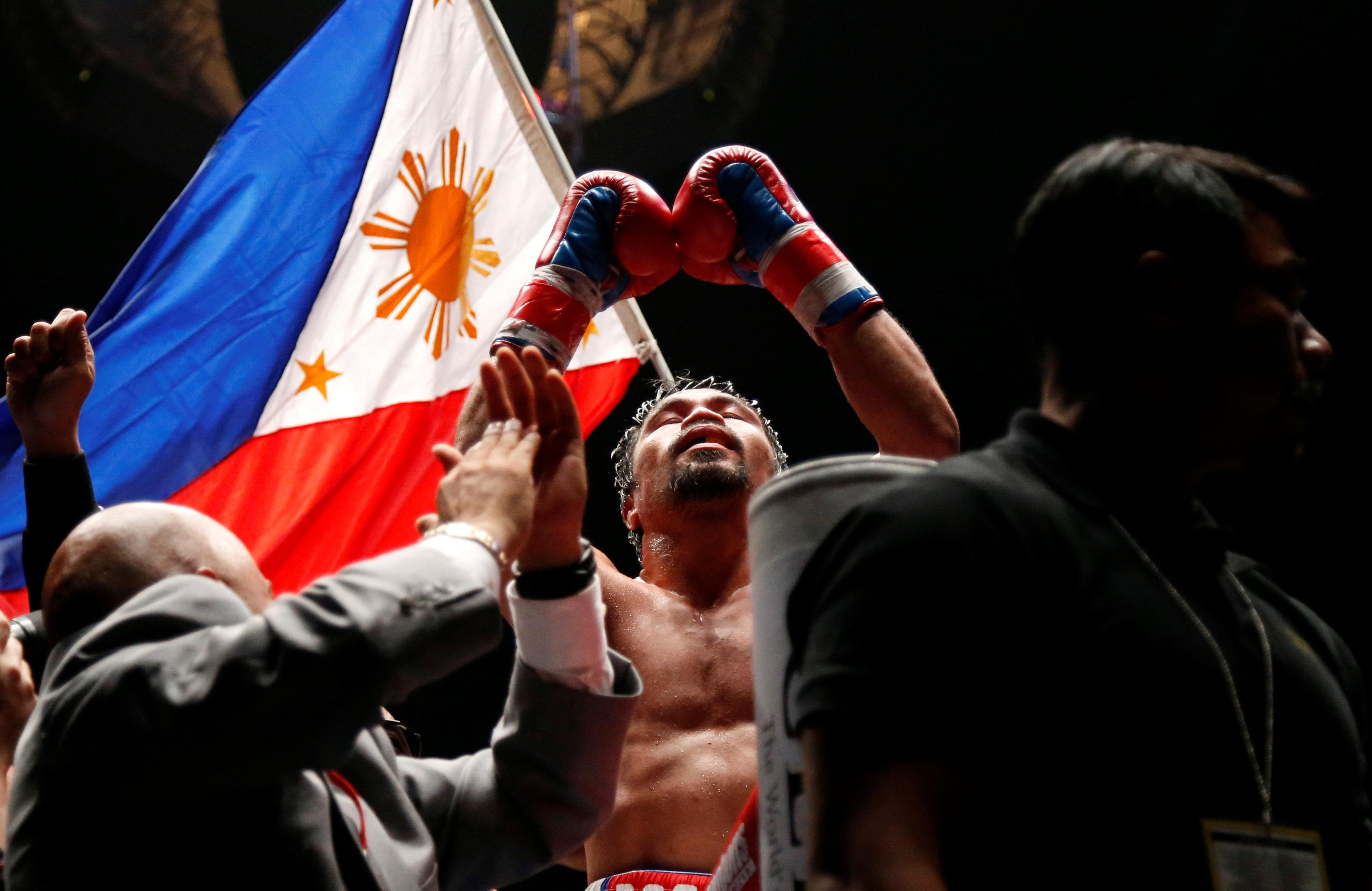 Pacquiao delivered the devastating winning blow in the seventh round