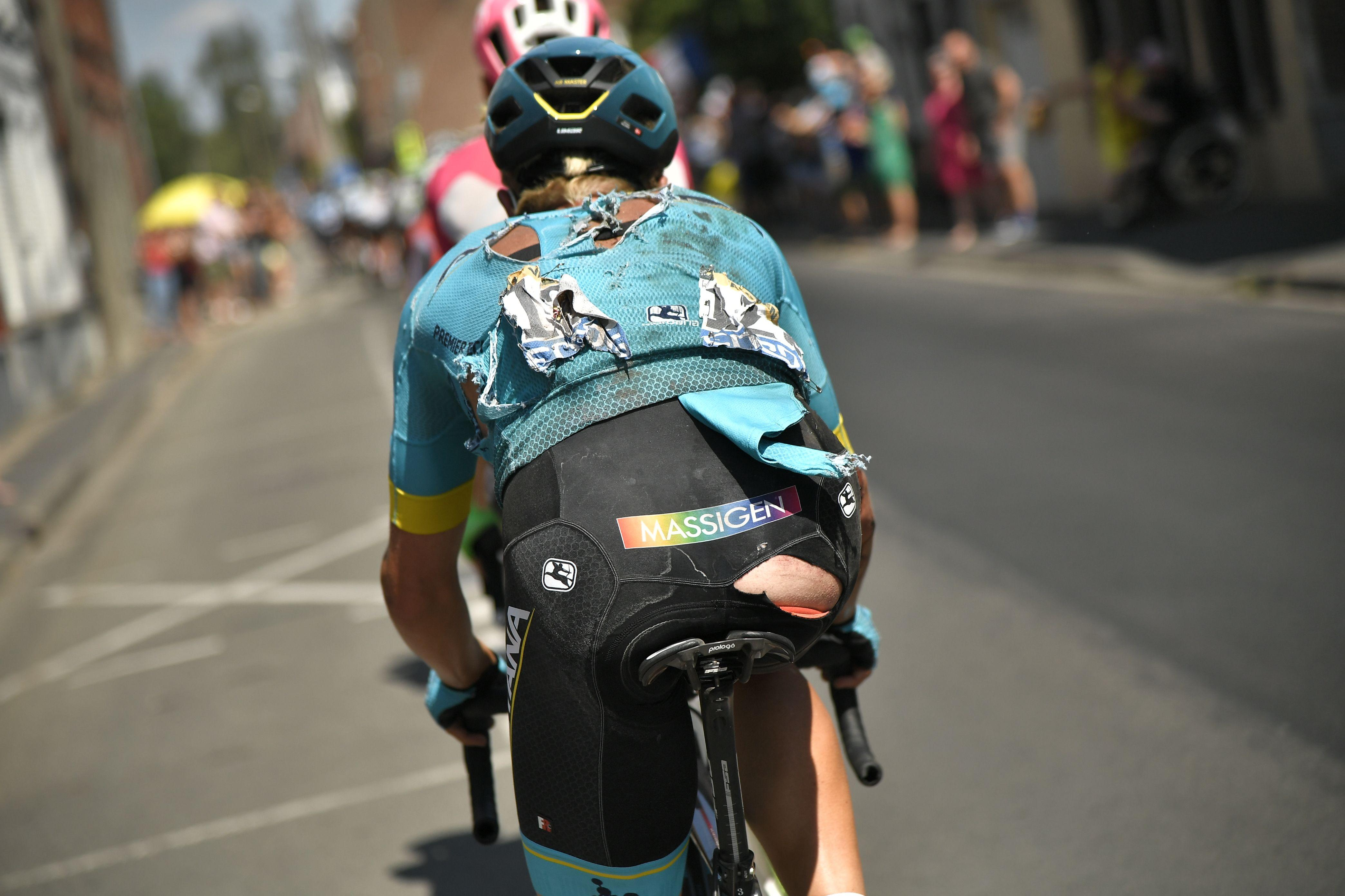 Sanchez's team-mate Michael Valgren also had a nasty crash on a cobbled stage nine that tore up his shorts and jersey