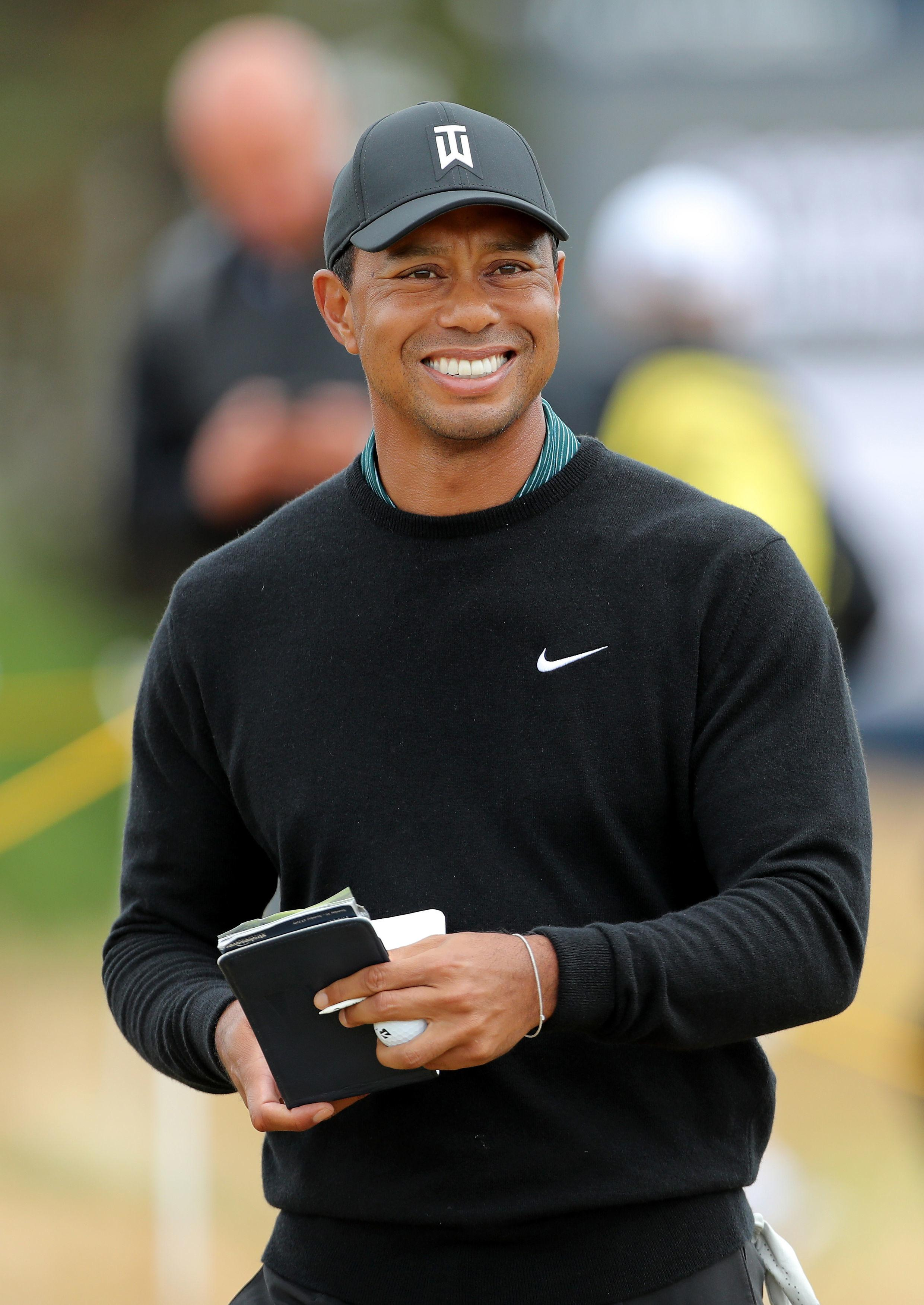 Woods is one of the last to tee off in the first round on Tuesday, paired alongside Scot Russell Knox and Japan's Hideki Matsuyama