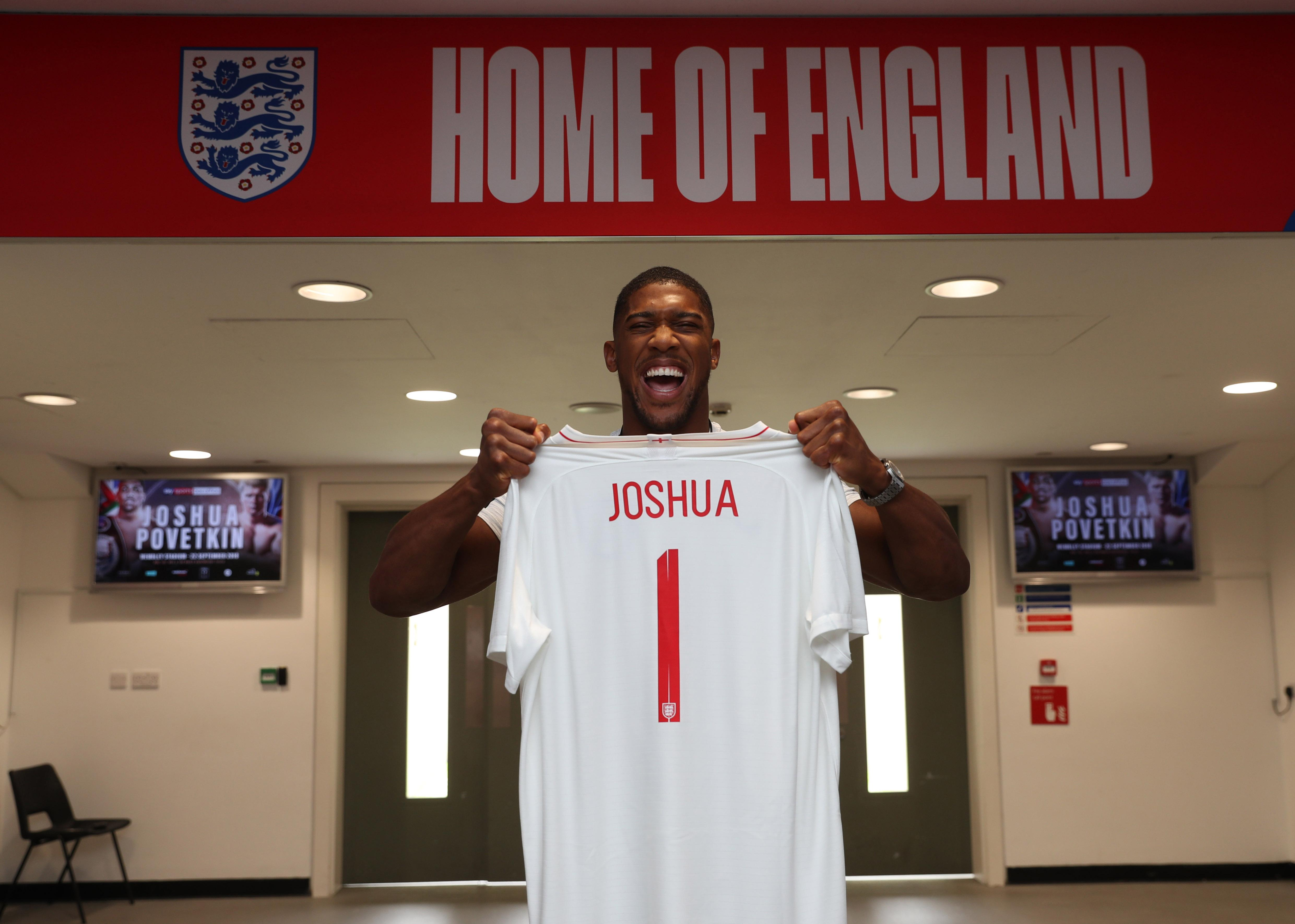 AJ was at 'the home of England' as he counted down the weeks until his next world title defence
