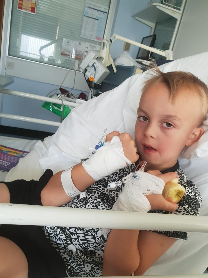 Riley Godfrey, six, had a seizure and spent three days in hospital - and his mum blames slime made by a teacher at his school