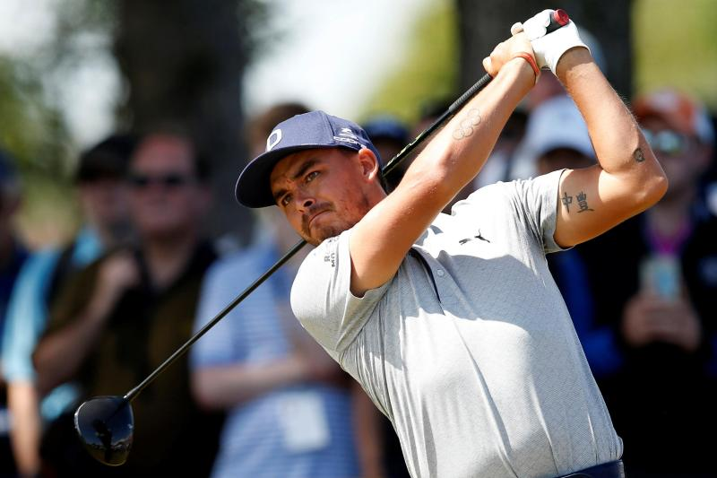 Rickie Fowler is another of the 'frat boy' American team relaxing by playing football