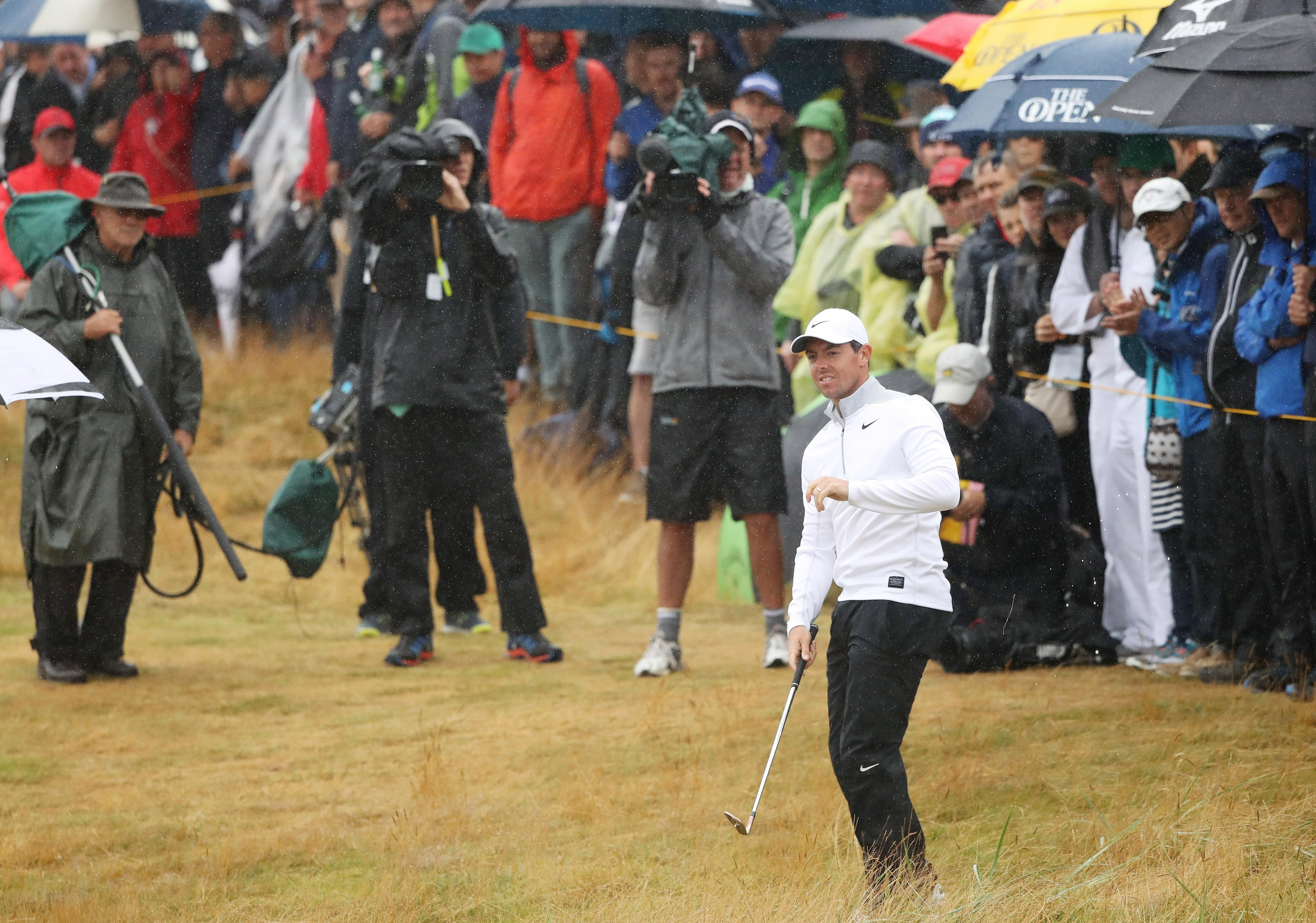 Rory McIlroy is one of five players two shots off the halfway lead at Carnoustie