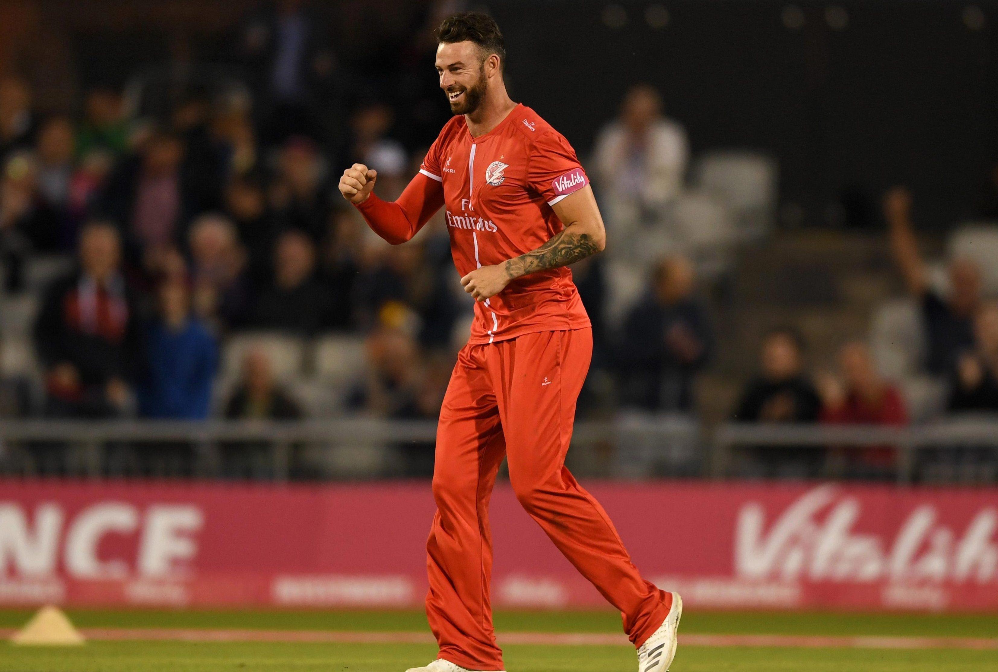 Jordan Clark celebrates the wicket of big-hitting Liam Plunkett