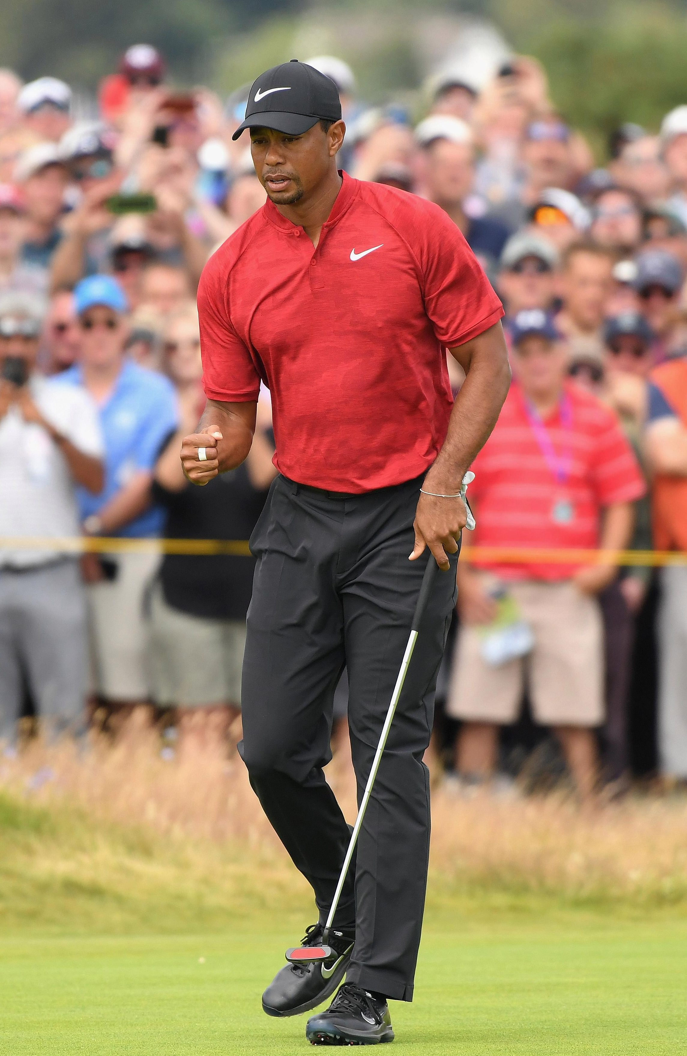 Tiger Woods was on the charge before a double bogey derailed his momentum