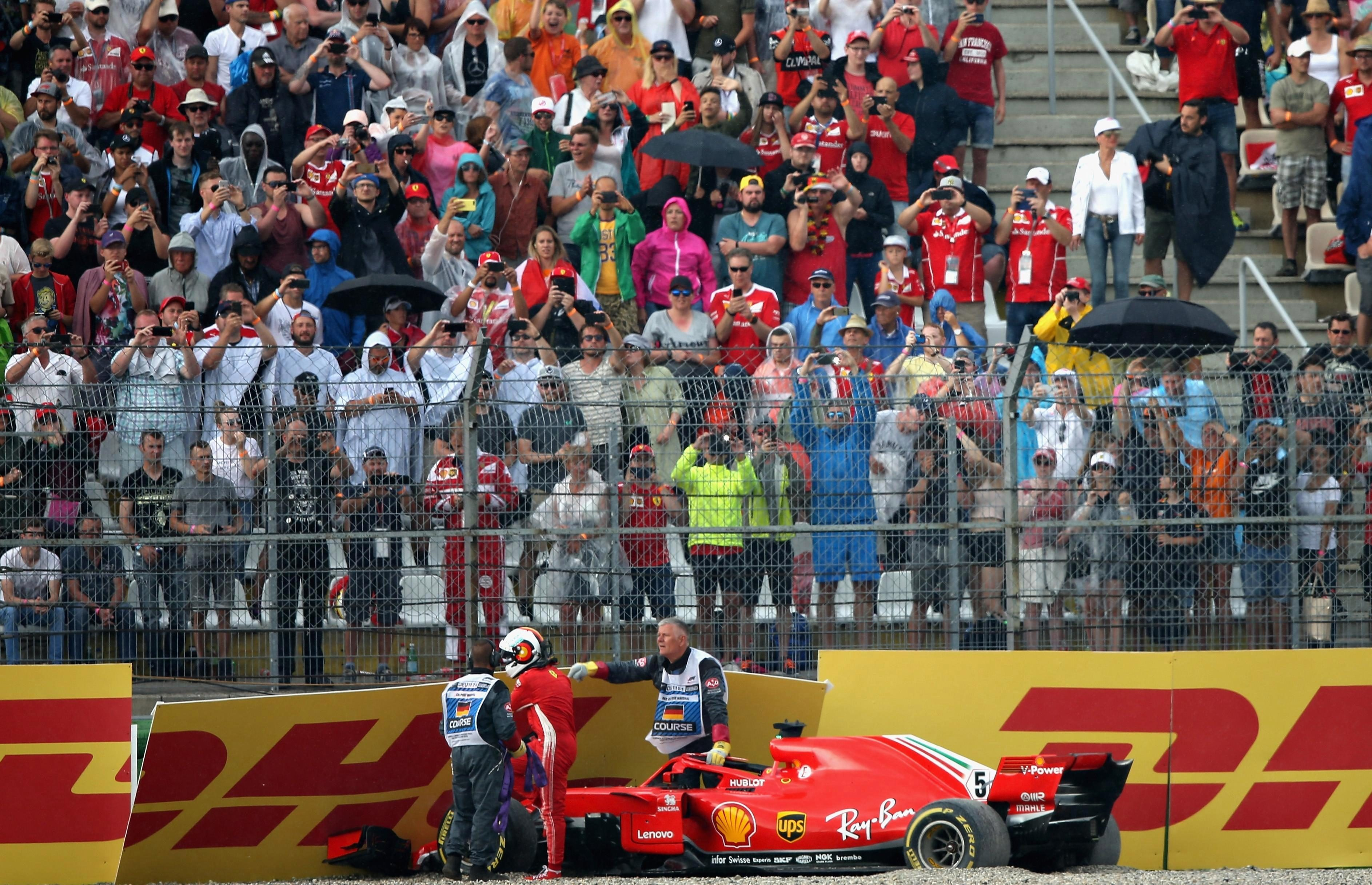 Hamilton's main title rival Vettel crashed out with 15 laps to go