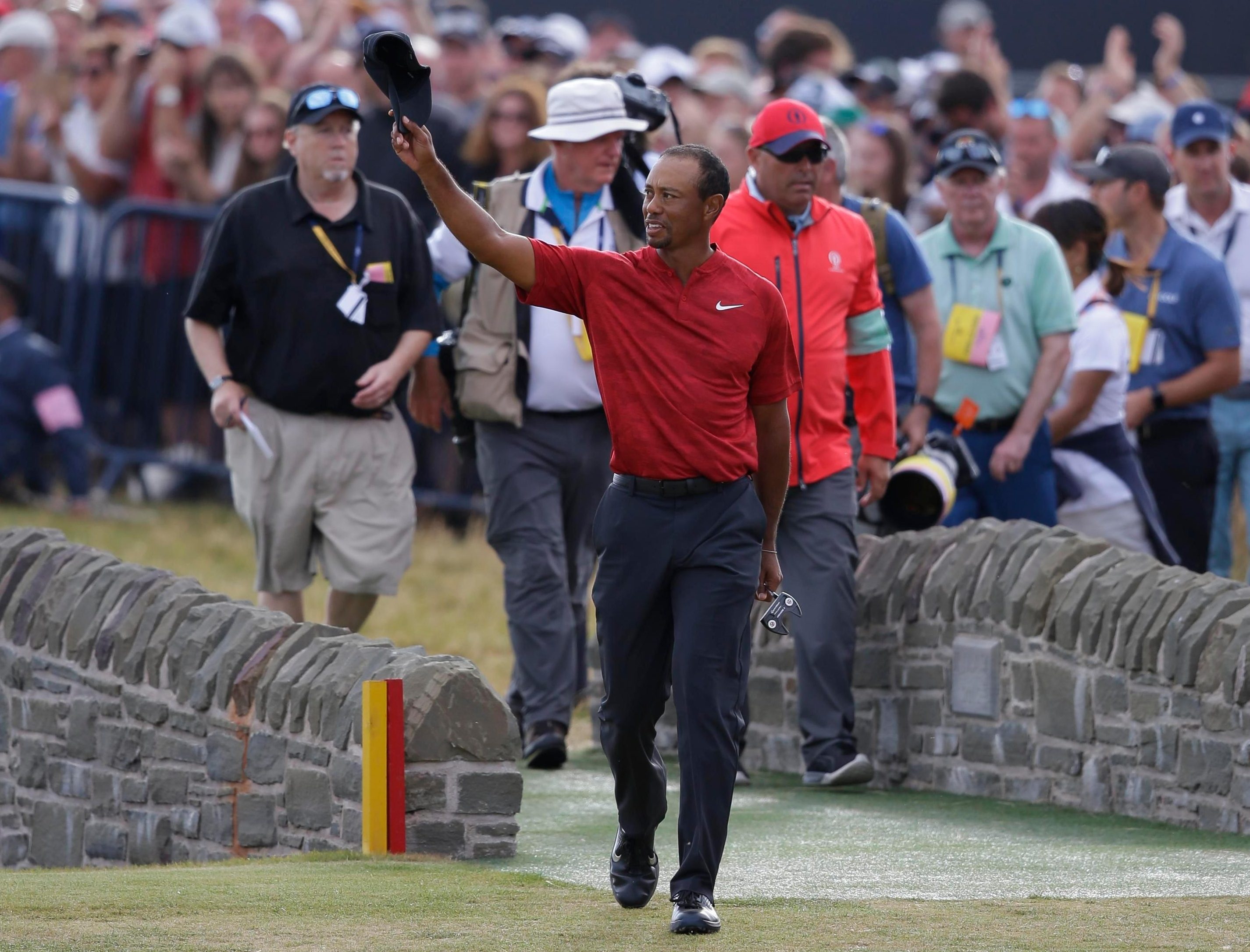 American legend Tiger Woods acknowledges the crowd on a day where for so long he must have thought he was a serious contender to win his 15th Major