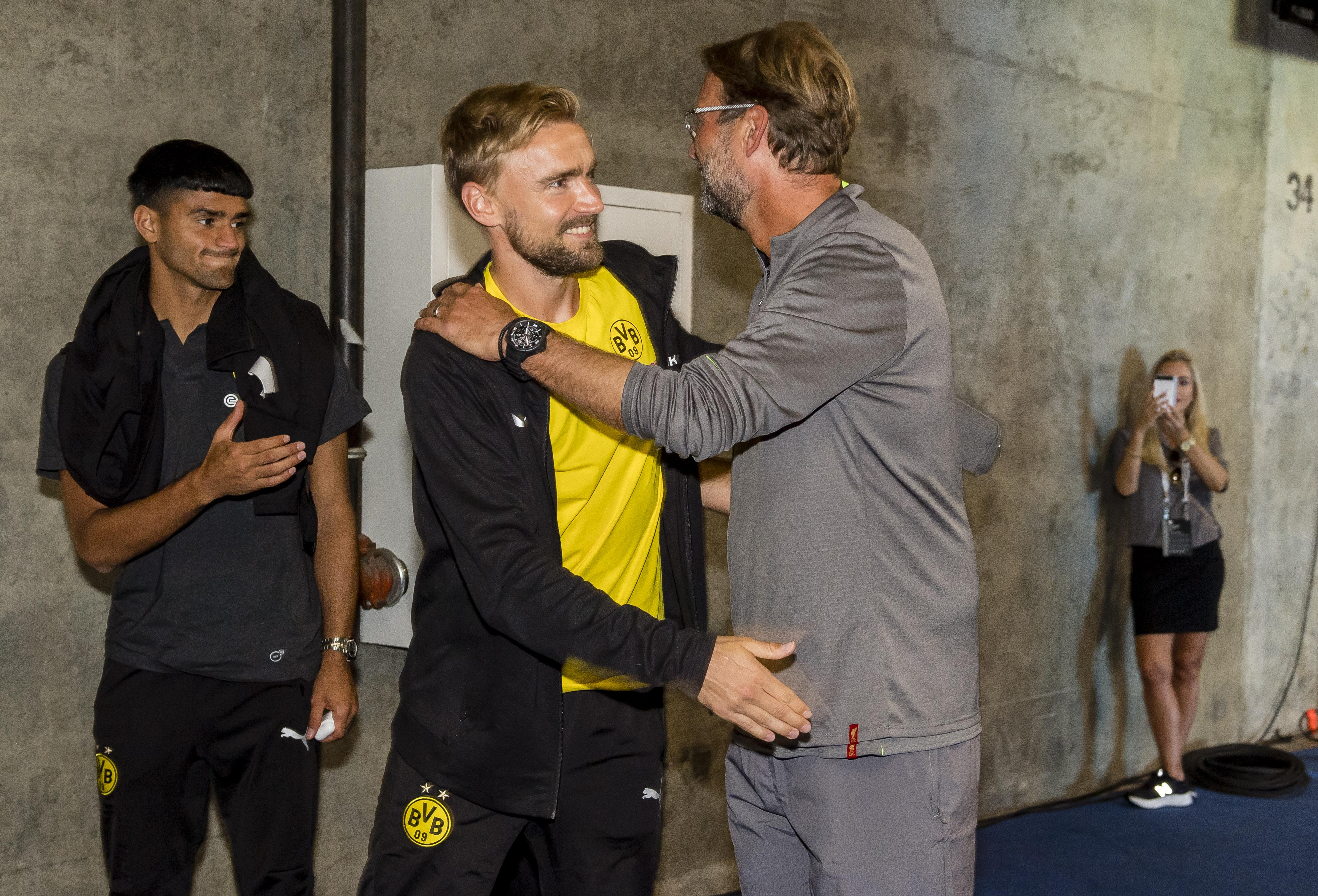 Klopp met a number of his former charges, including Marcel Schmelzer, when Liverpool took on Borussia Dortmund earlier this month
