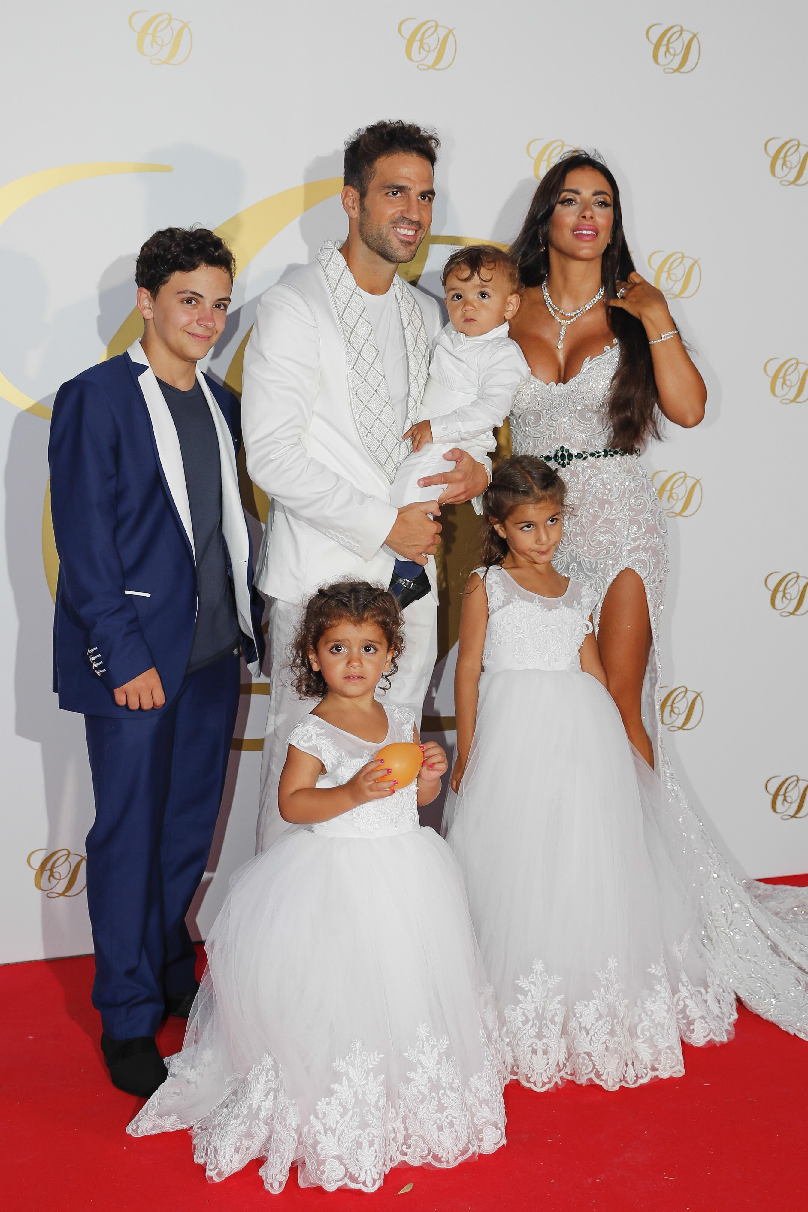 Cesc Fabregas and wife Daniella Semaan celebrate their marriage with their children in Ibiza
